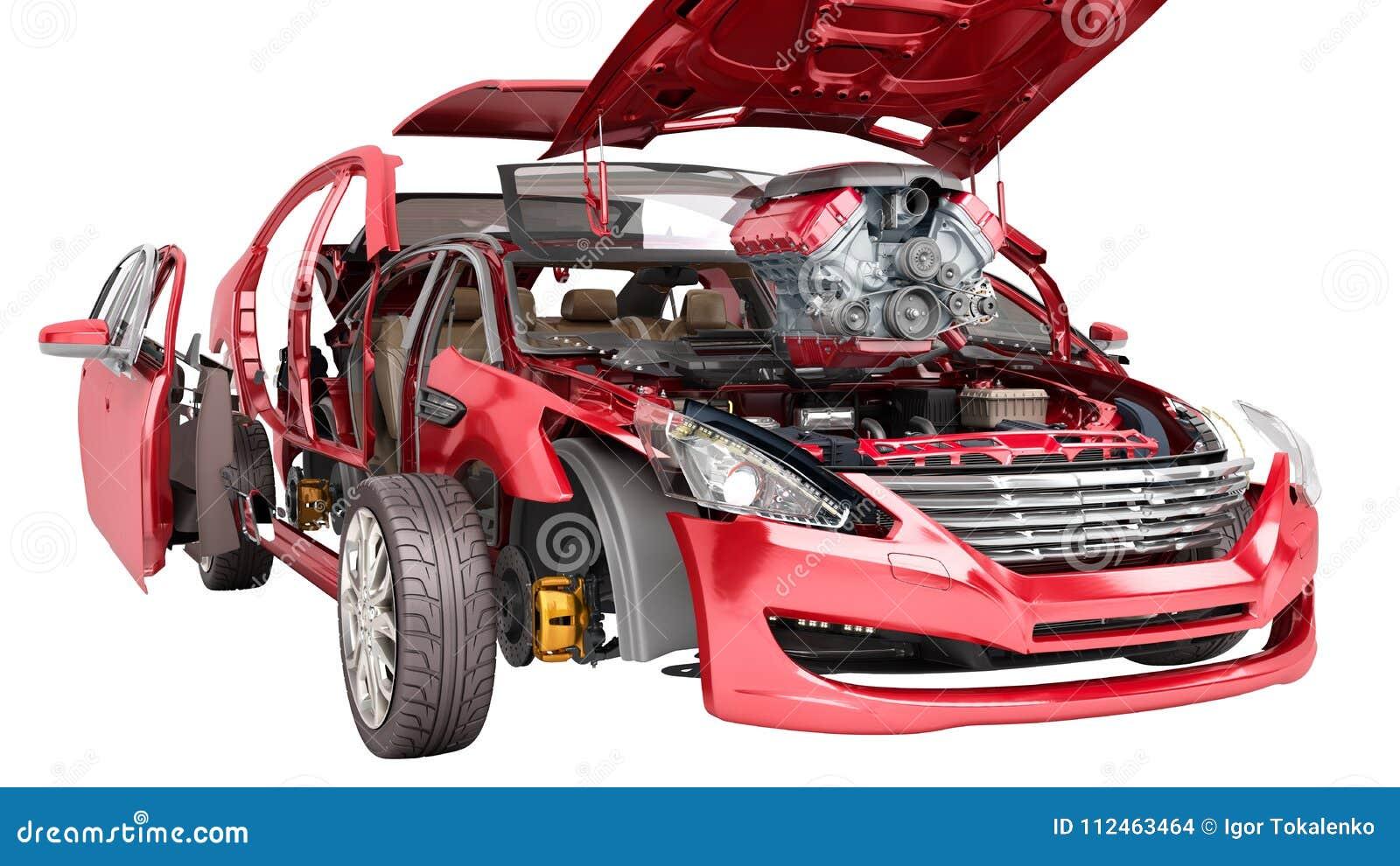 Modernt begrepp av arbetsdetaljer för auto reparation av den röda bilen på en w