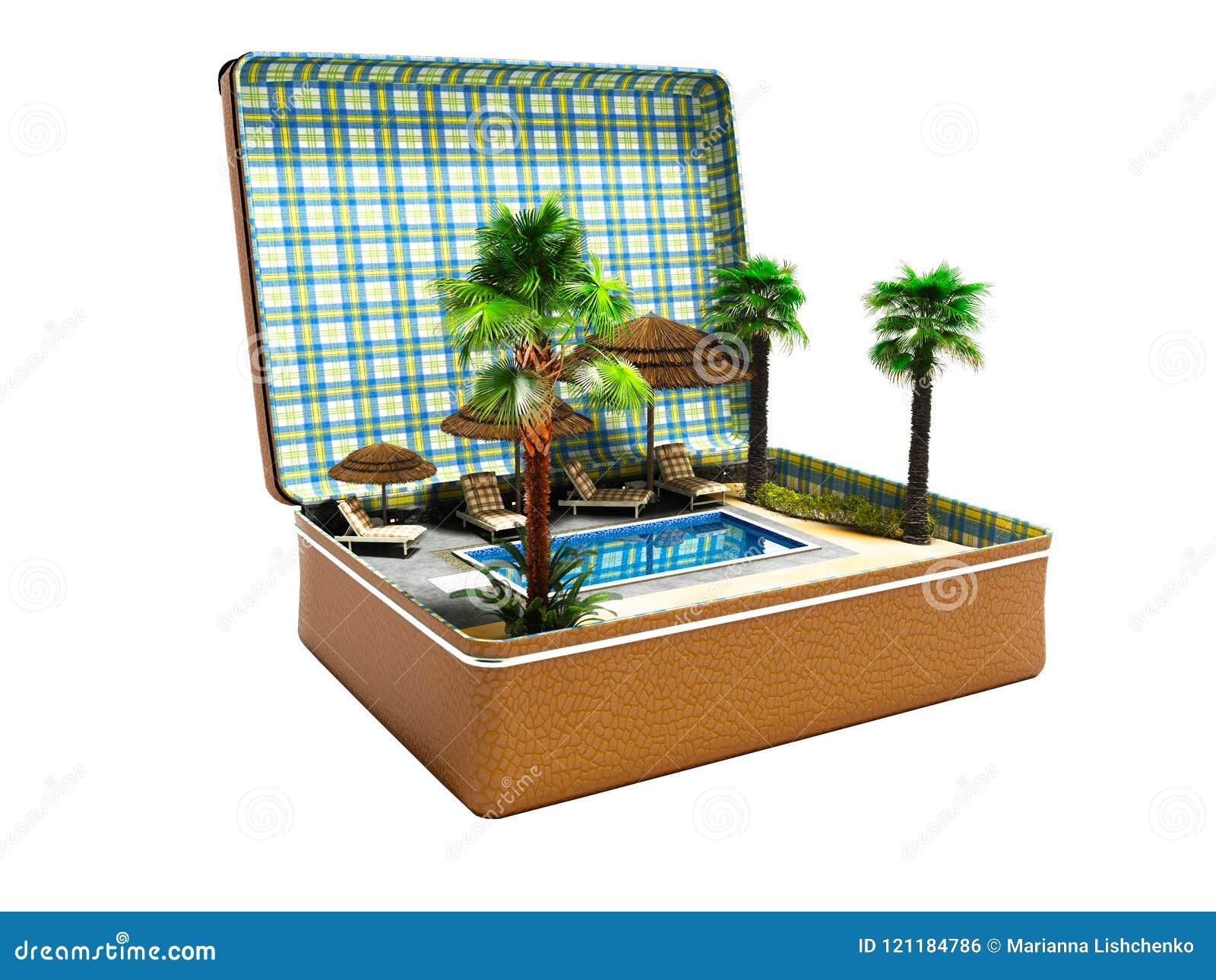 Modernt begrepp av den near pölen för avkoppling med palmträd i suitca