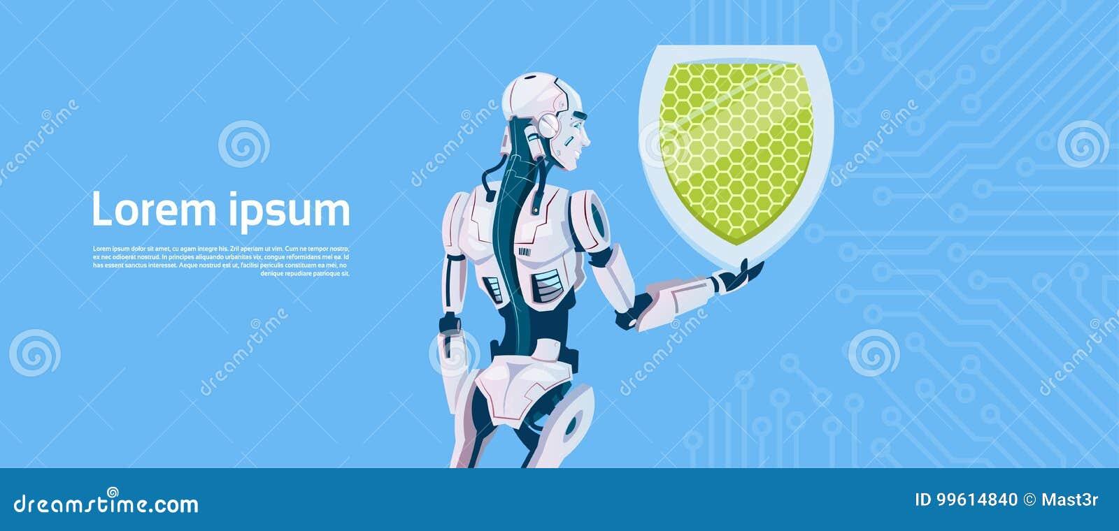 Modernt begrepp för skydd för data för robothållsköld, futuristisk mekanismteknologi för konstgjord intelligens