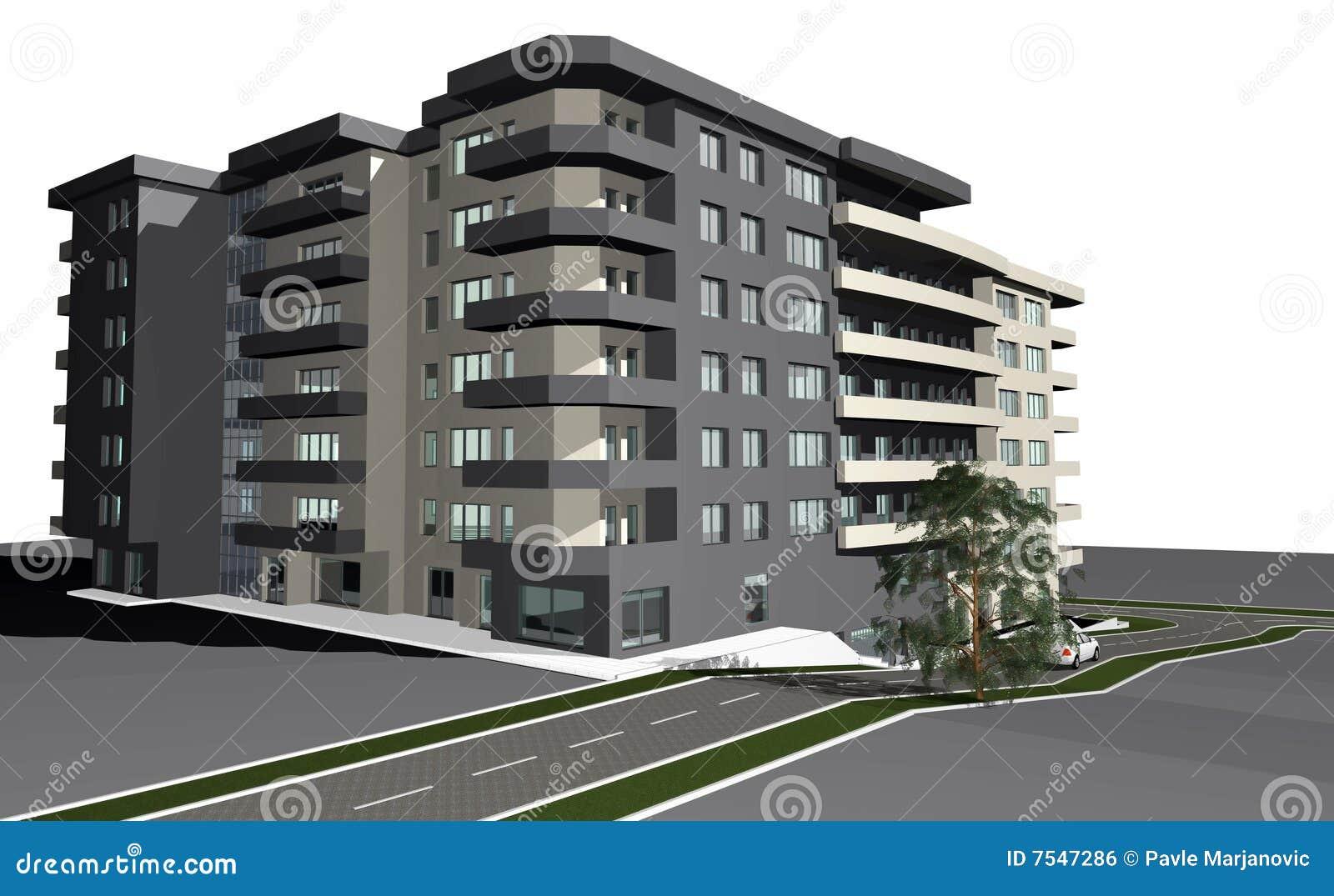 Modernt byggande 3d framför bostads