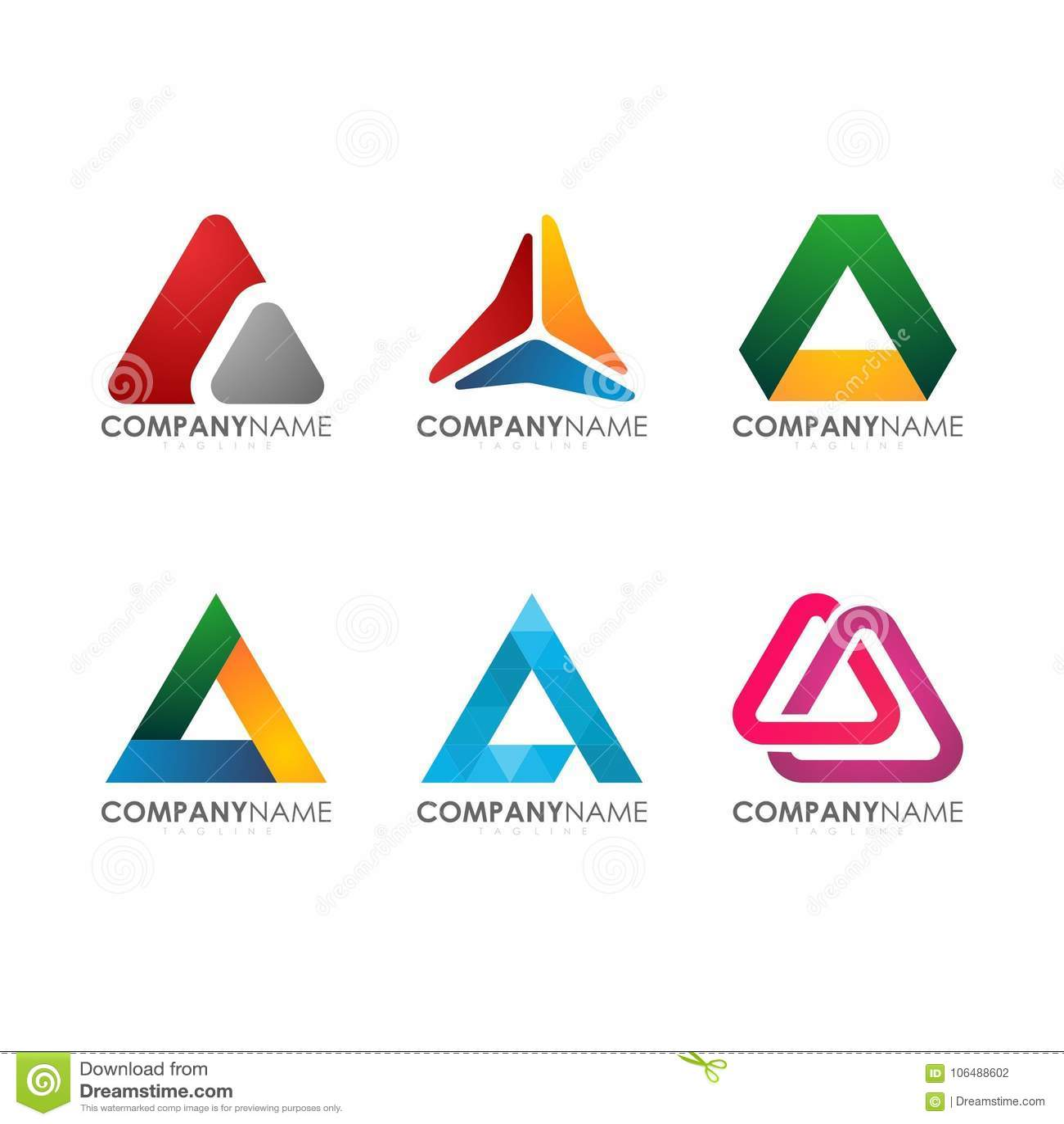 Modernt för för industriell den färgrika triangeln Logo Set konstruktionstech för företag