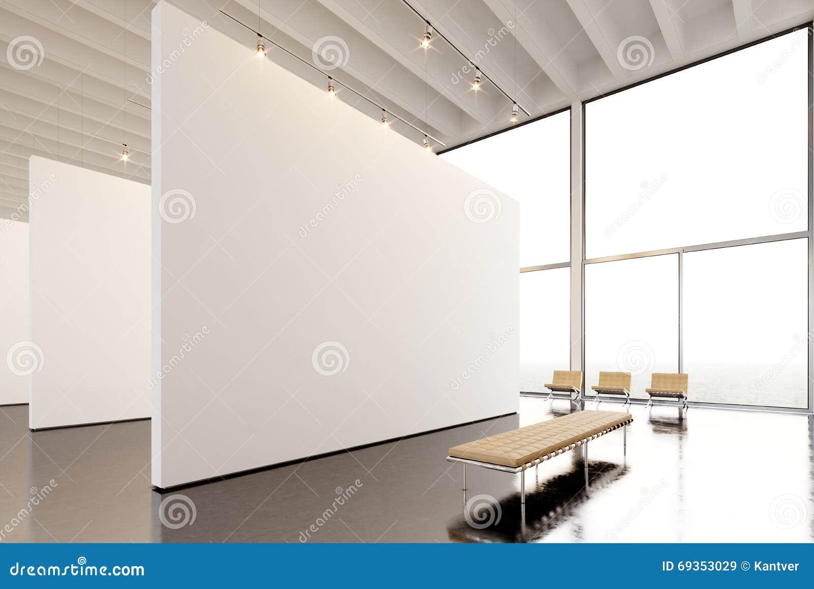 Modernt galleri för fotoutläggning, öppet utrymme Hängande samtida konstmuseum för stor vit tom kanfas Inre vindstil