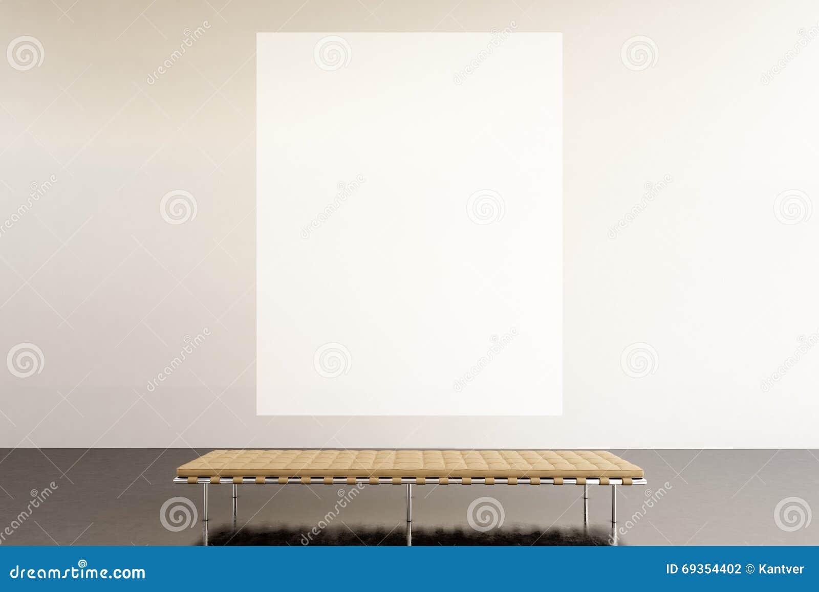 Modernt galleri för fotoutställningutrymme Hängande samtida konstmuseum för enorm vit tom kanfas Inre vindstil med