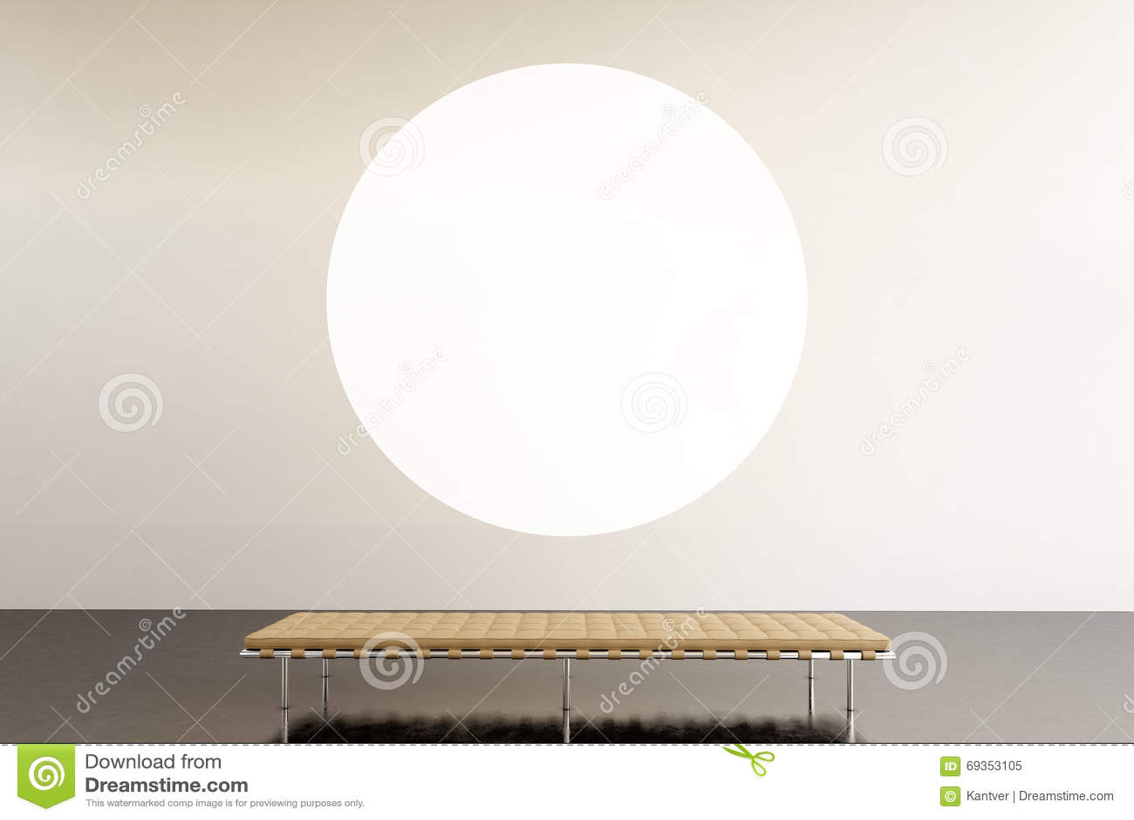 Modernt galleri för fotoutställningutrymme Hängande samtida konstmuseum för rund vit tom kanfas Inre vindstil med
