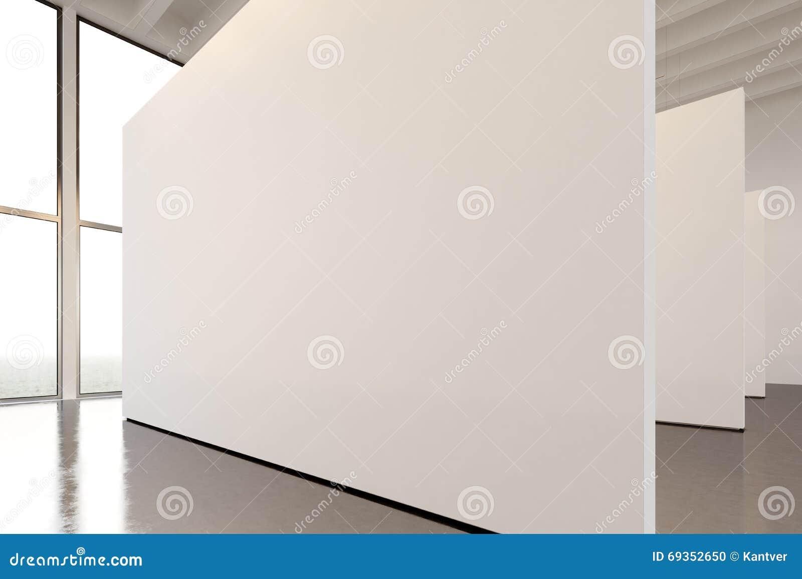 Modernt galleri för fotoutställningutrymme Hängande samtida konstmuseum för stor vit tom kanfas Inre vindstil med