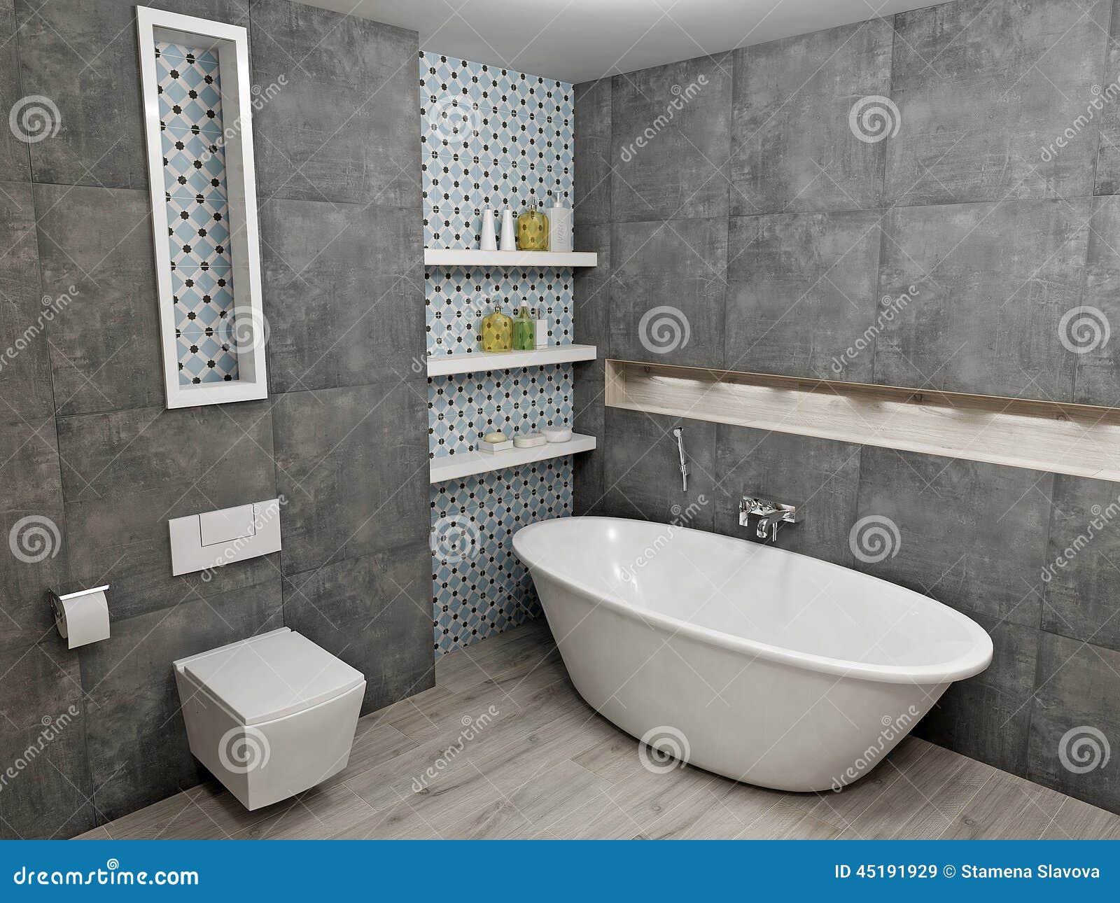Moderiktigt grått badrum arkivfoto   bild: 53373480