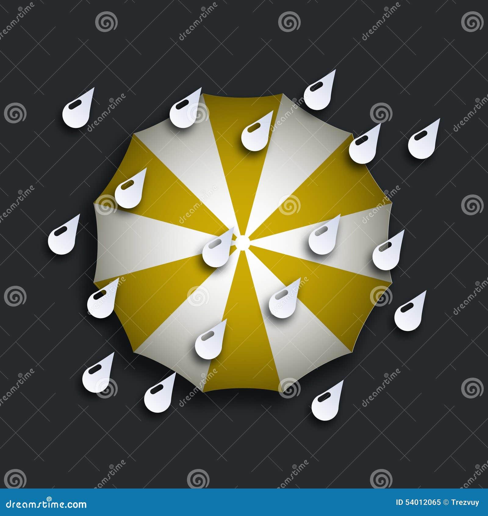 Modernt gult paraply för vektor med droppar