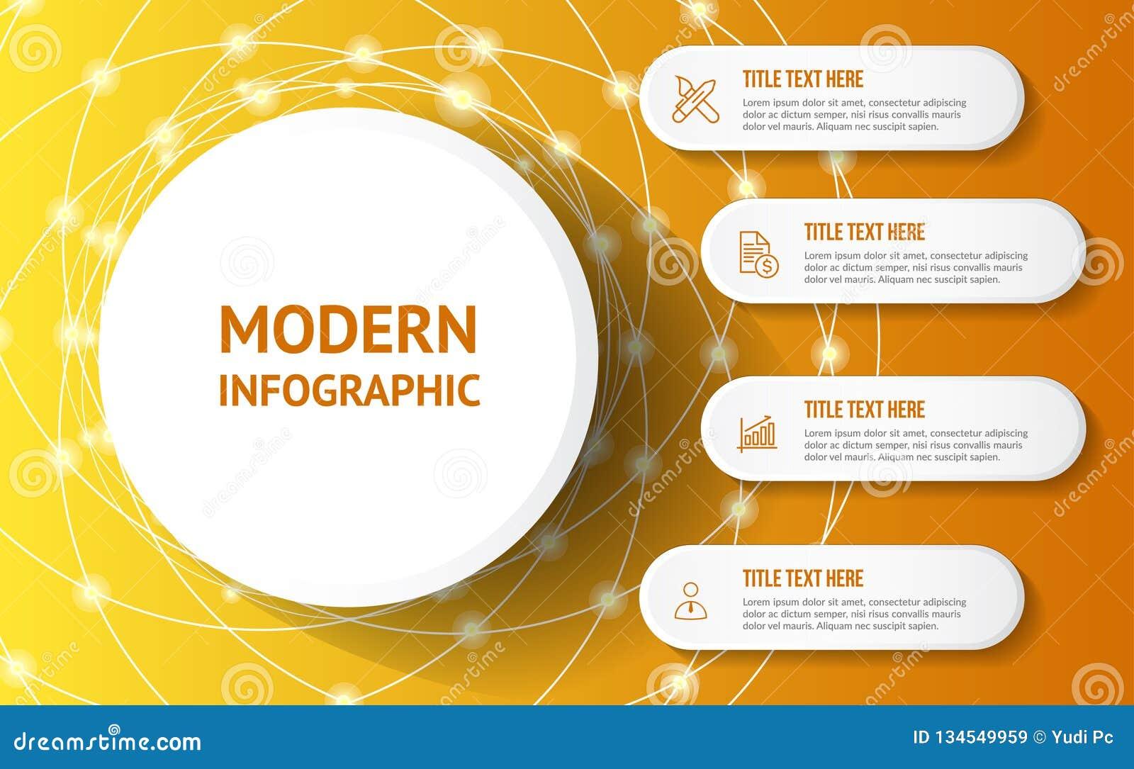 Modernt infographic med gul bakgrund