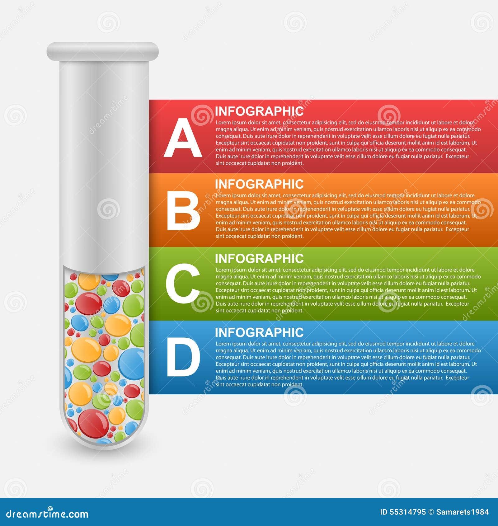 Modernt infographic på vetenskap och medicin i form av provrör