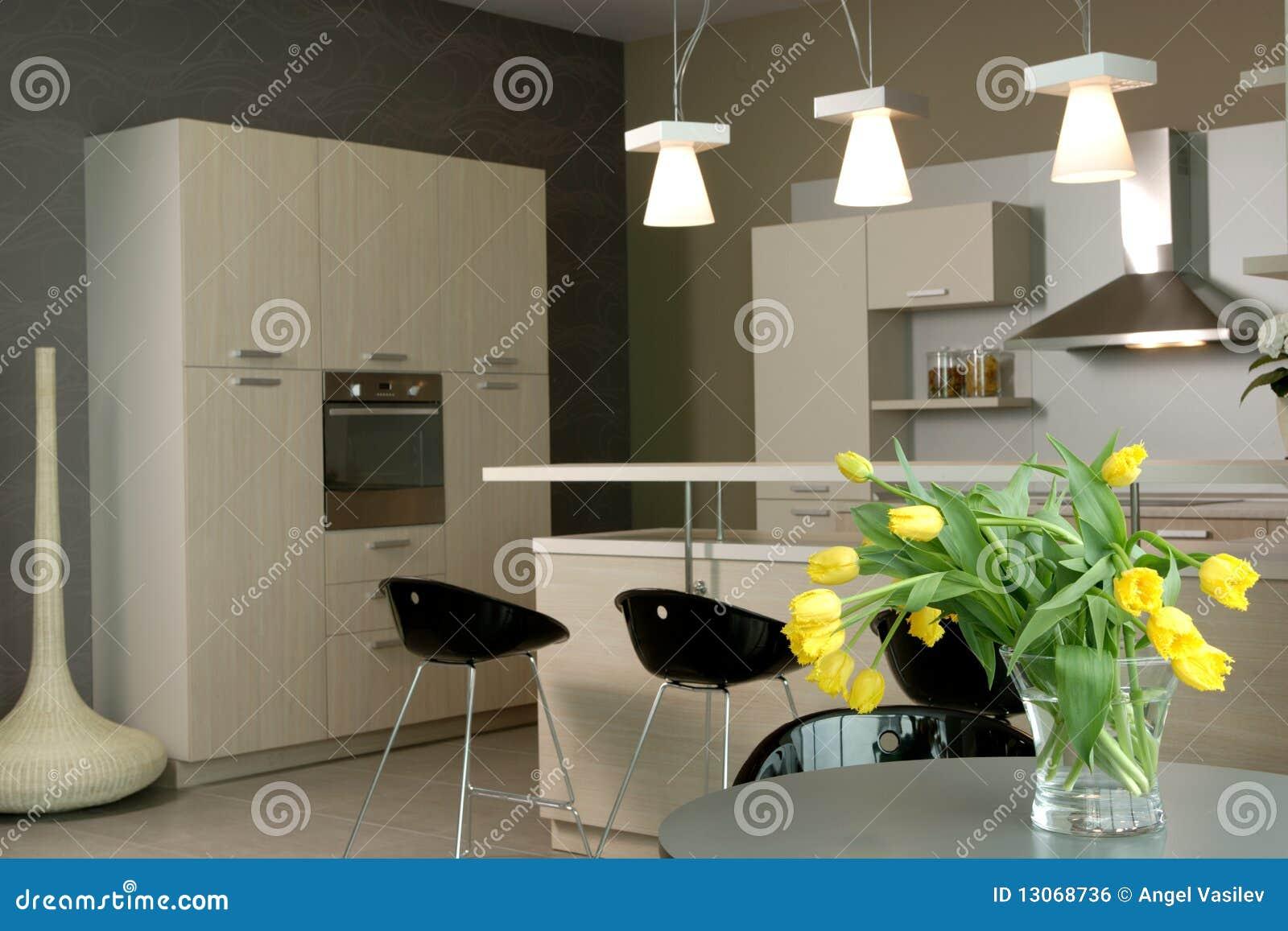 Modernt inre kök för härlig design