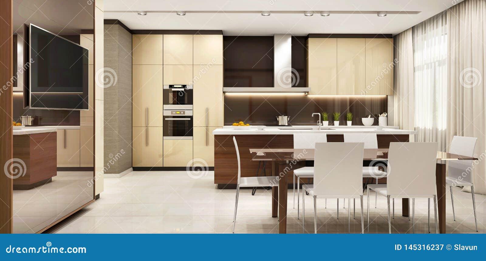 Modernt kök i ett stort härligt hus