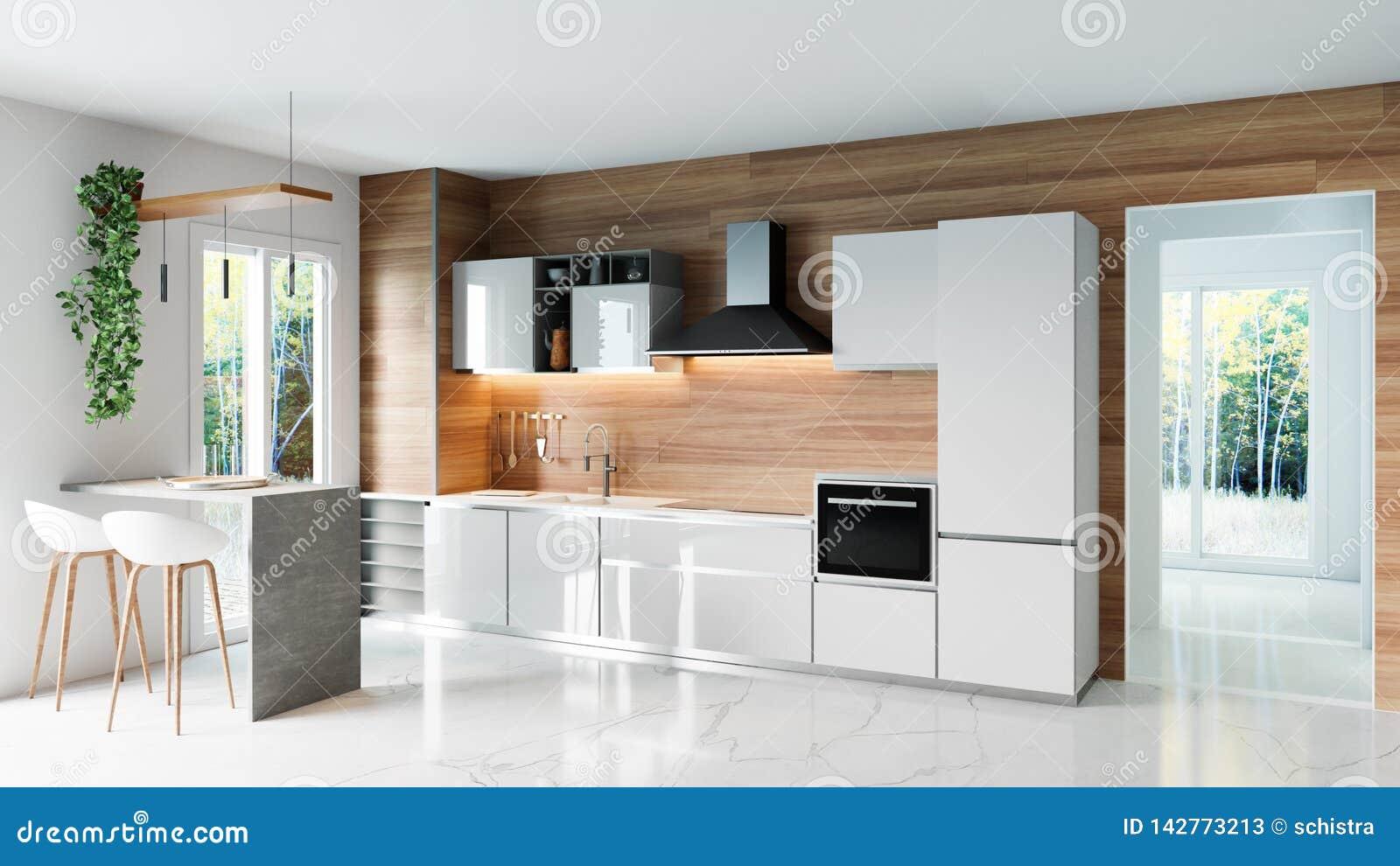 Modernt kök med träväggen och vit marmorerar golvet, den minimalistic idén för inredesignbegreppet, illustrationen 3D