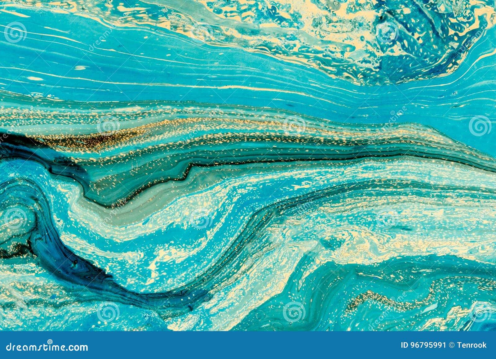 Modernt konstverk med abstrakt marmormålning Blandade blått- och gulingmålarfärger Akrylmålarfärger på vattenyttersida horisontal