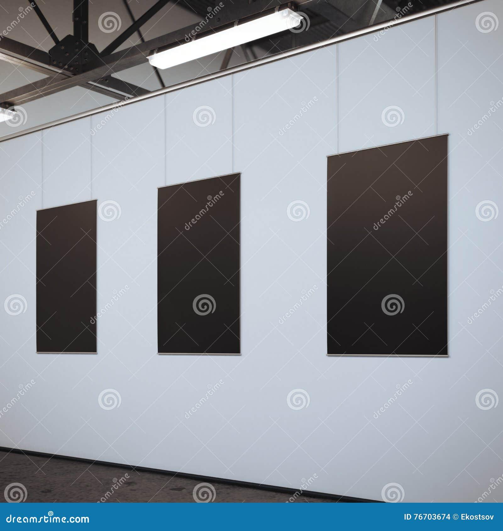Modernt ljust galleri med tre tomma ramar framförande 3d