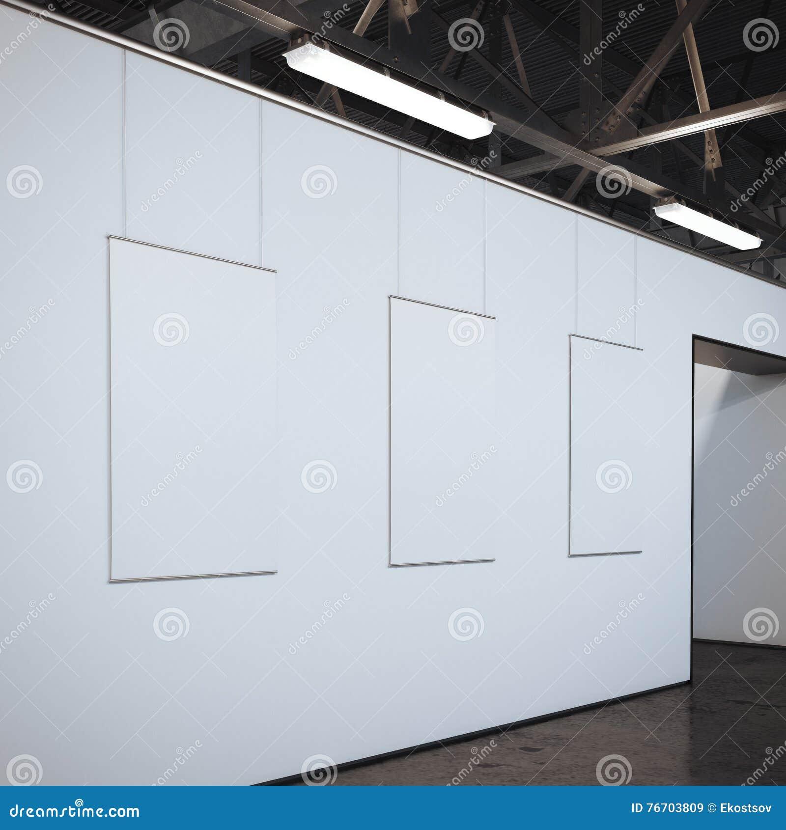 Modernt ljust galleri med tre vita ramar framförande 3d