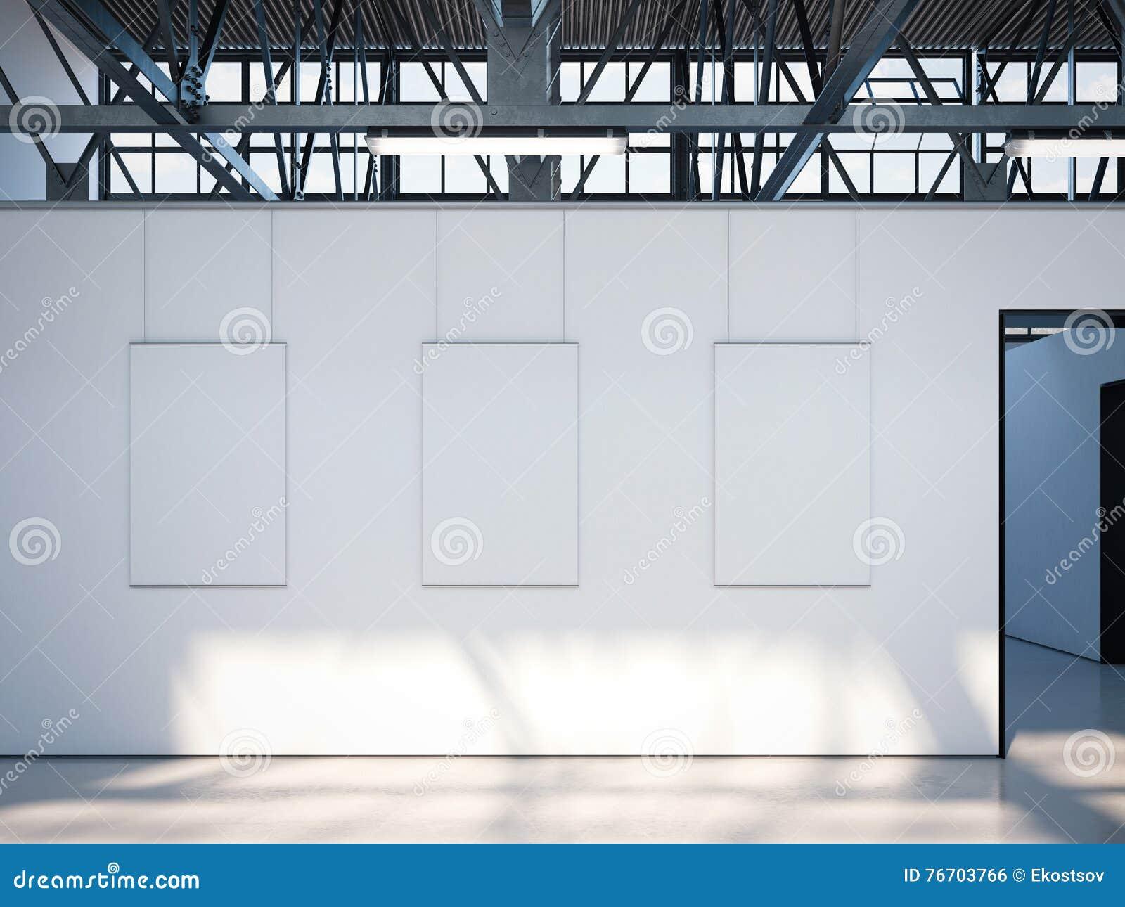 Modernt ljust galleri med vita affischer framförande 3d