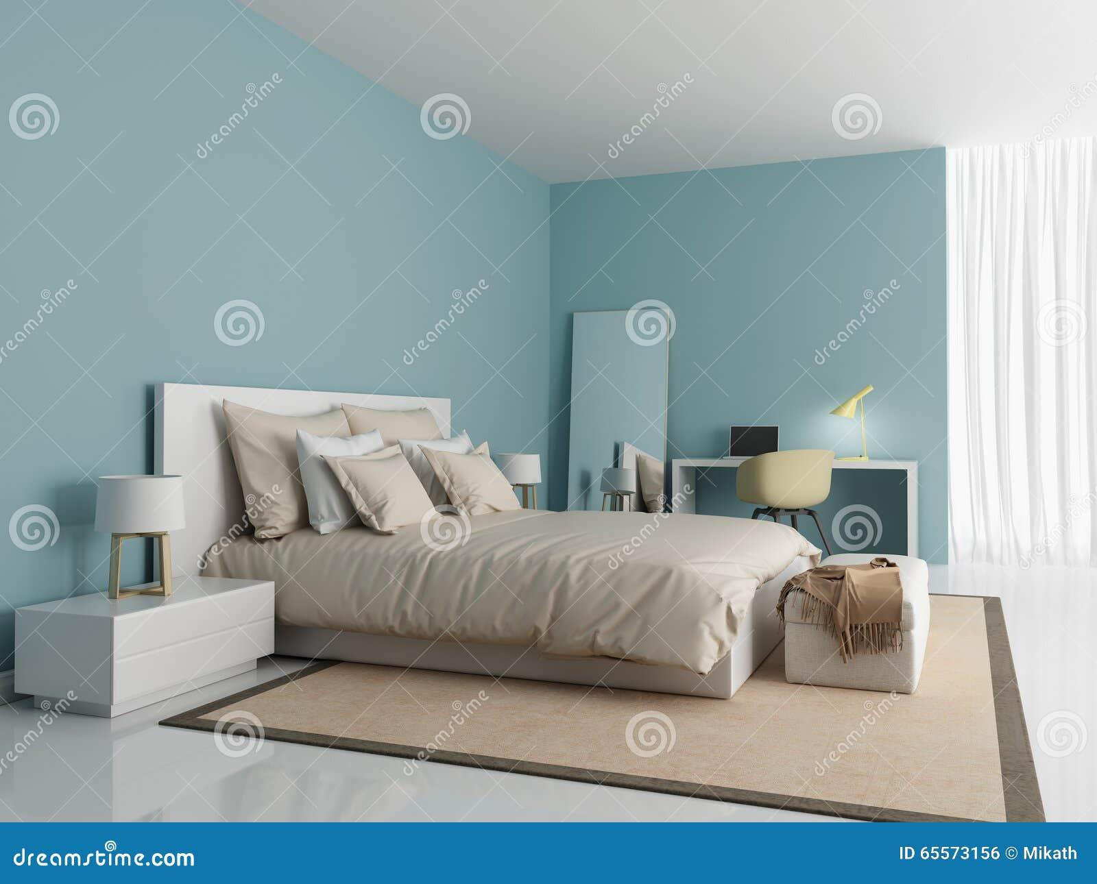 Modern inre av ett sovrum med en spegel på väggen stock ...