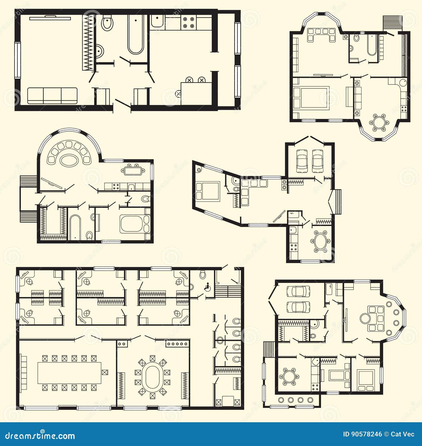Modernt projekt för teckning för design för möblemang och för konstruktion för arkitektoniskt plan för kontor inre