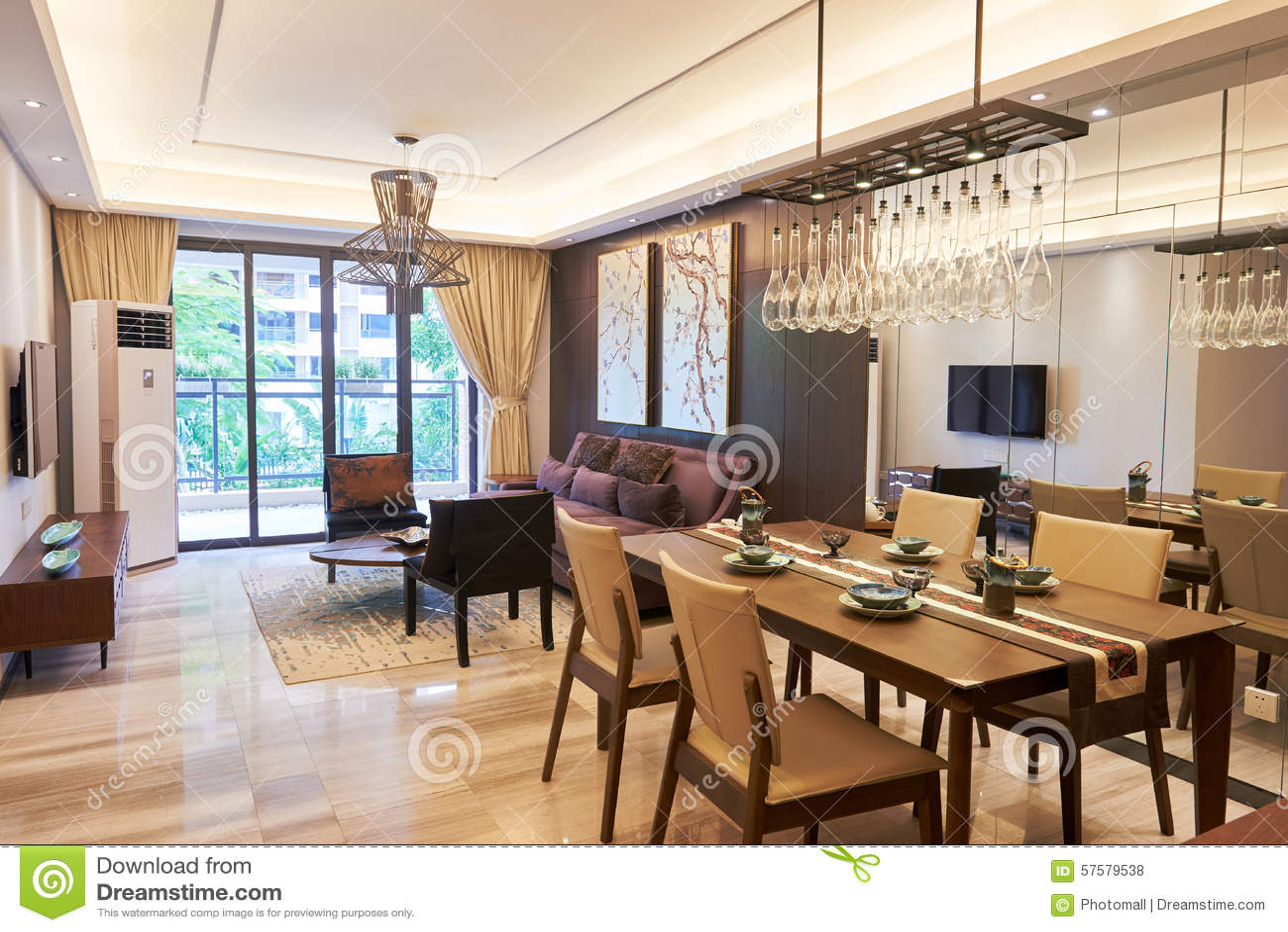 Modernt vardagsrum  och äta middagområde arkivfoto   bild: 57579538