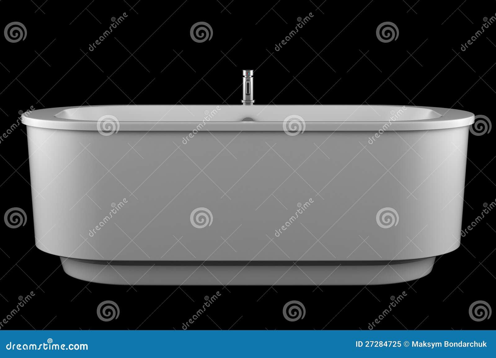 Modernt vitt badkar som isoleras på black