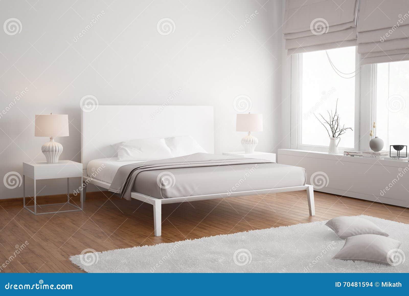 Vitt och beige sovrum med stol och lampor stock illustrationer ...