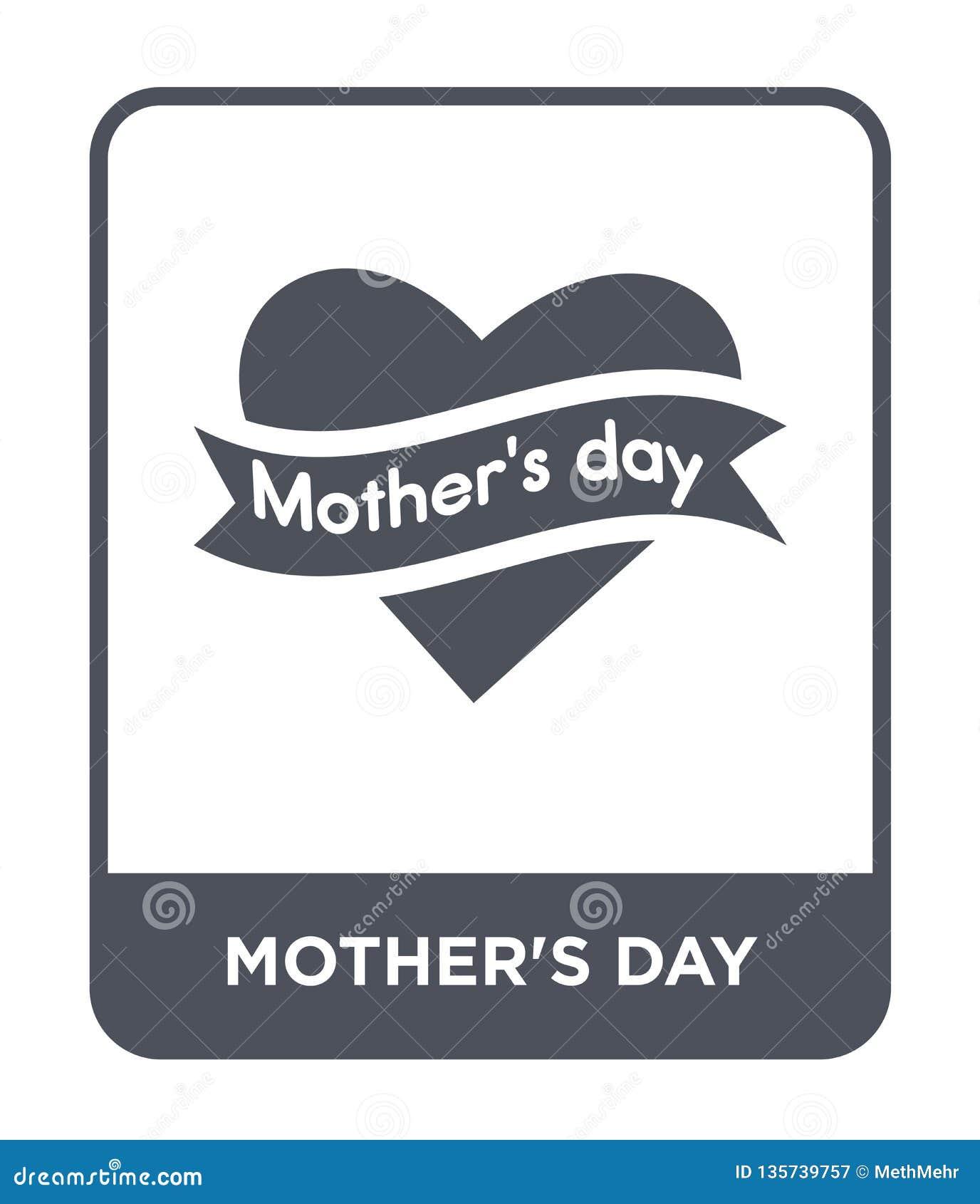 Moders symbol för dag i moderiktig designstil moders symbol för dag som isoleras på vit bakgrund moders enkel symbol för vektor f