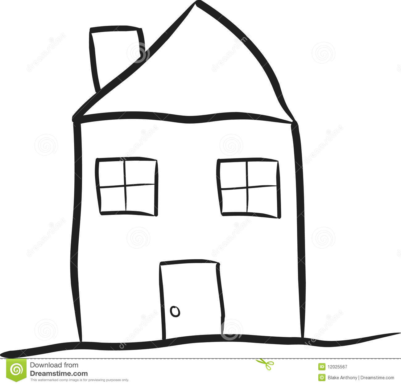 Line Drawing House Image : Modest house royalty free stock photography image