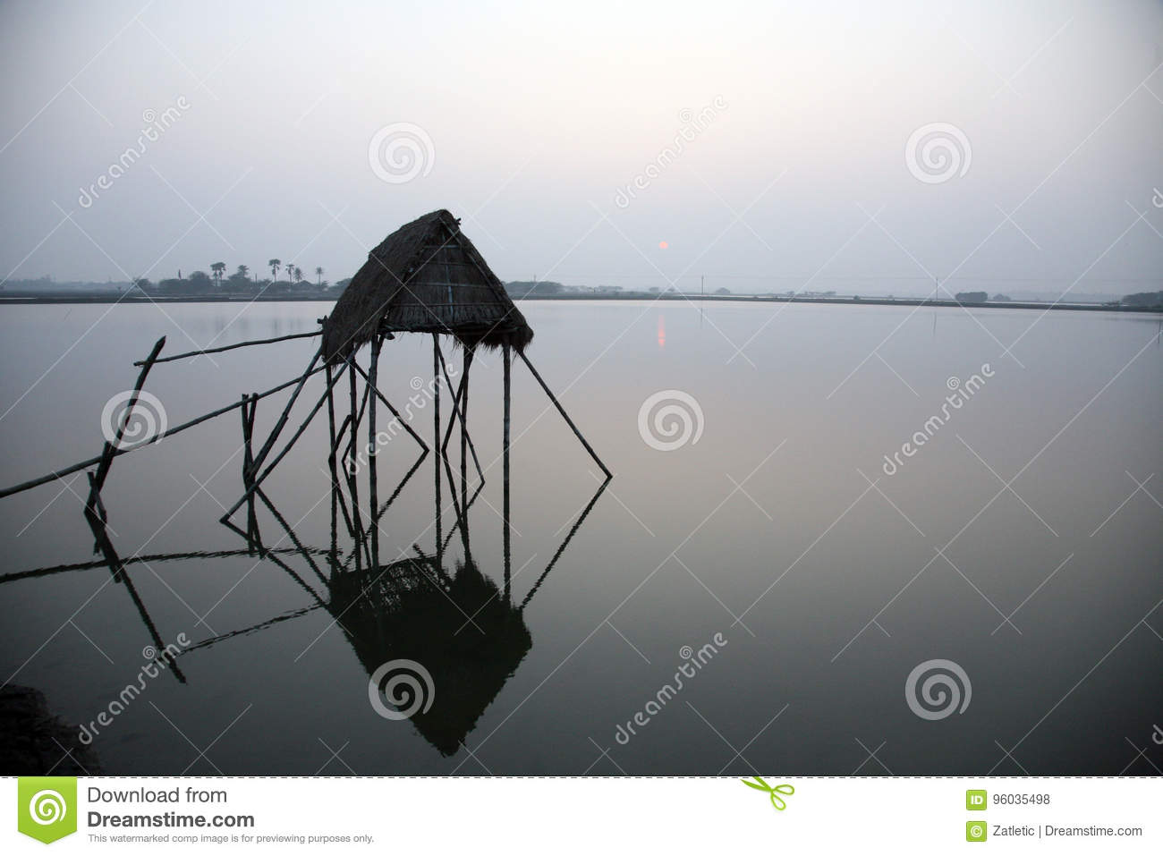 Modest straw hut of Indian fishermen in the Ganges, Sunderband, India
