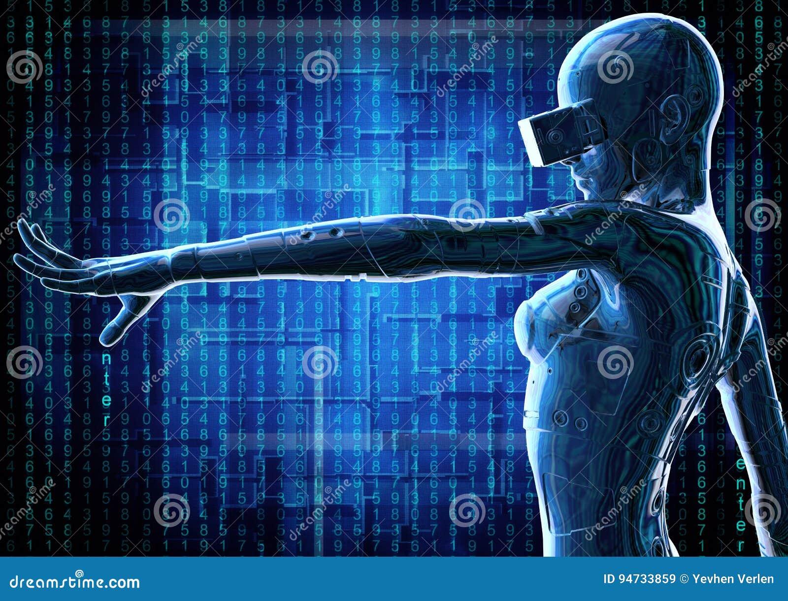 Modieus chromeplated cyborg de vrouw 3D Illustratie