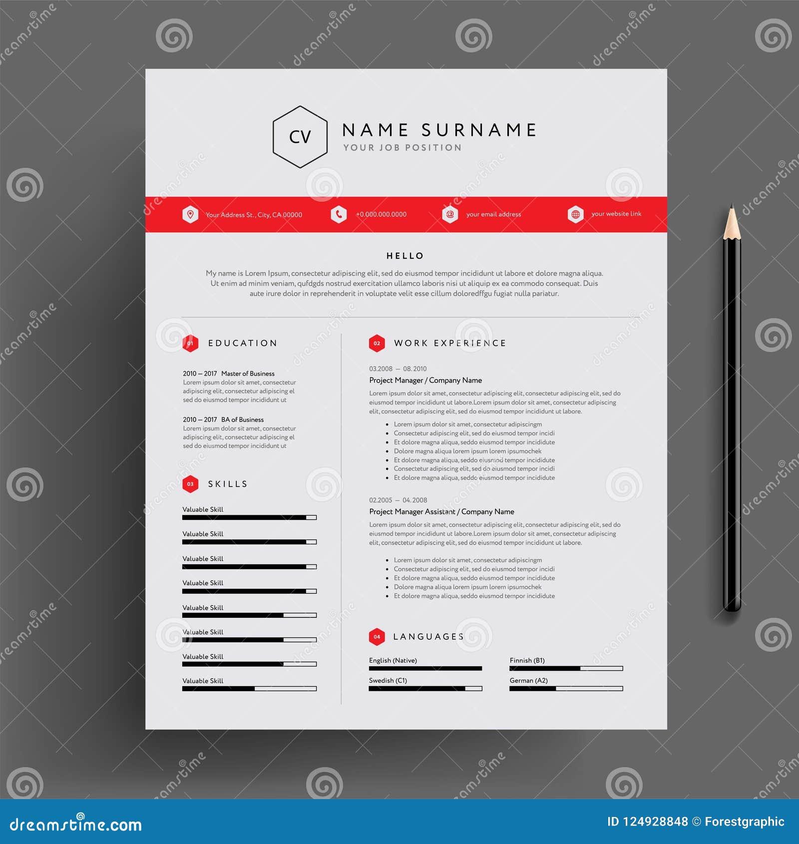 Modieus cv/hervat het rode vectormalplaatje van het ontwerpmalplaatje