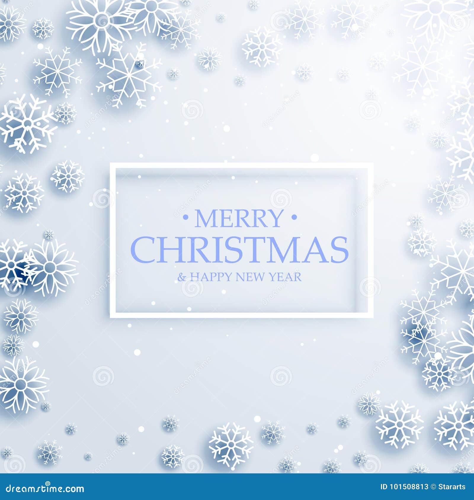 Modieus vrolijk de kaartontwerp van de Kerstmisgroet met witte snowflak
