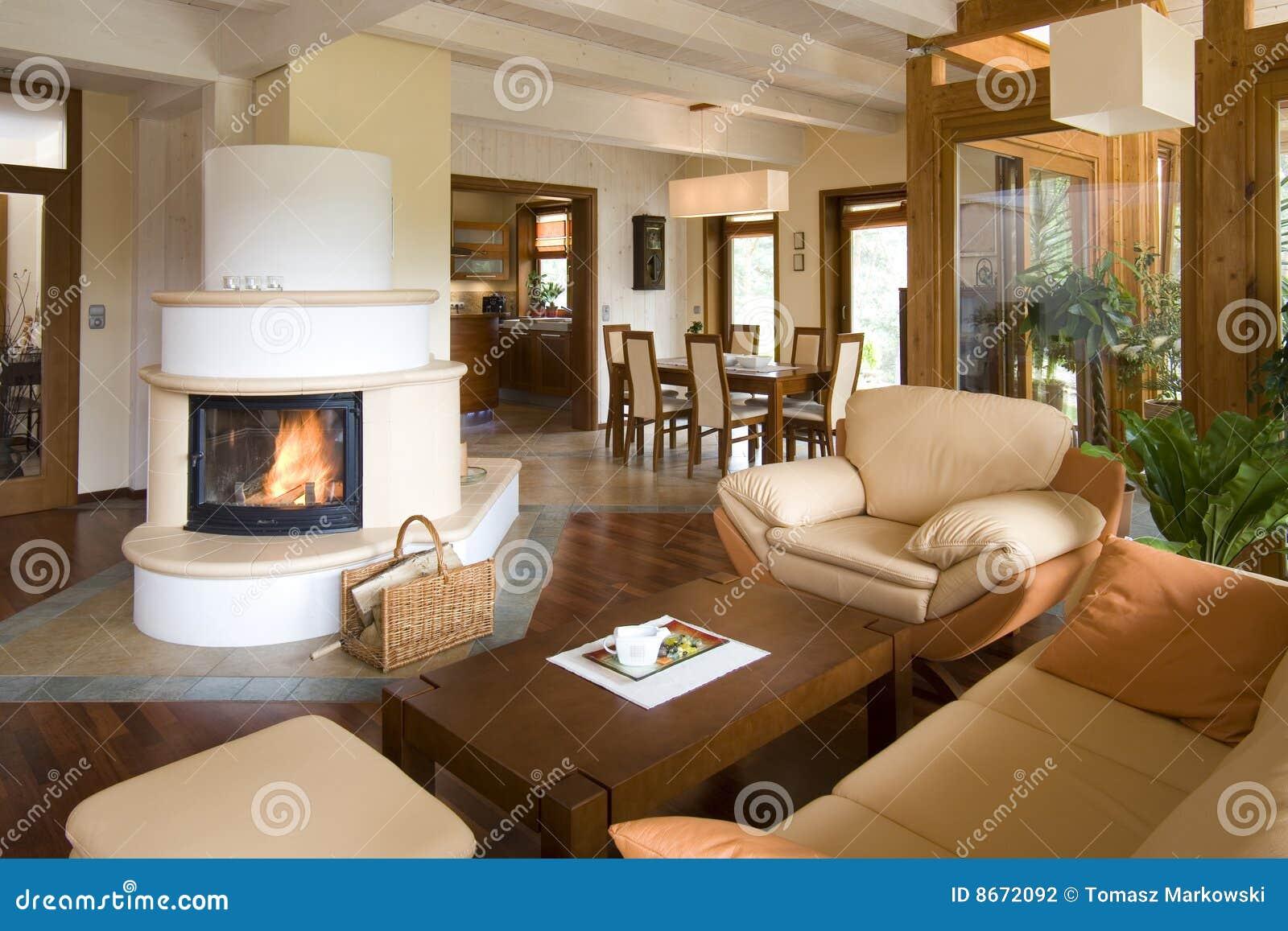 Modieuze moderne woonkamer met open haard stock fotografie beeld 8672092 - Moderne open haard ...