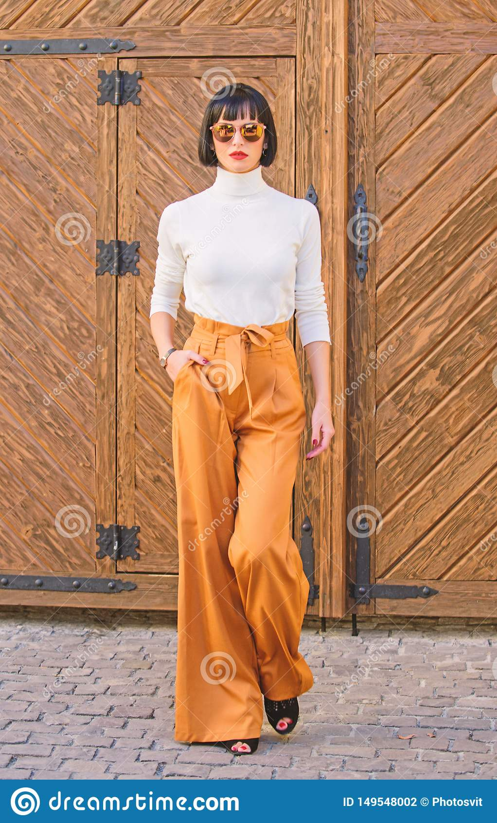 Modieuze uitrustings slanke lange dame manier en stijlconcept Vrouwengang in losse broek Vrouwen modieus brunette