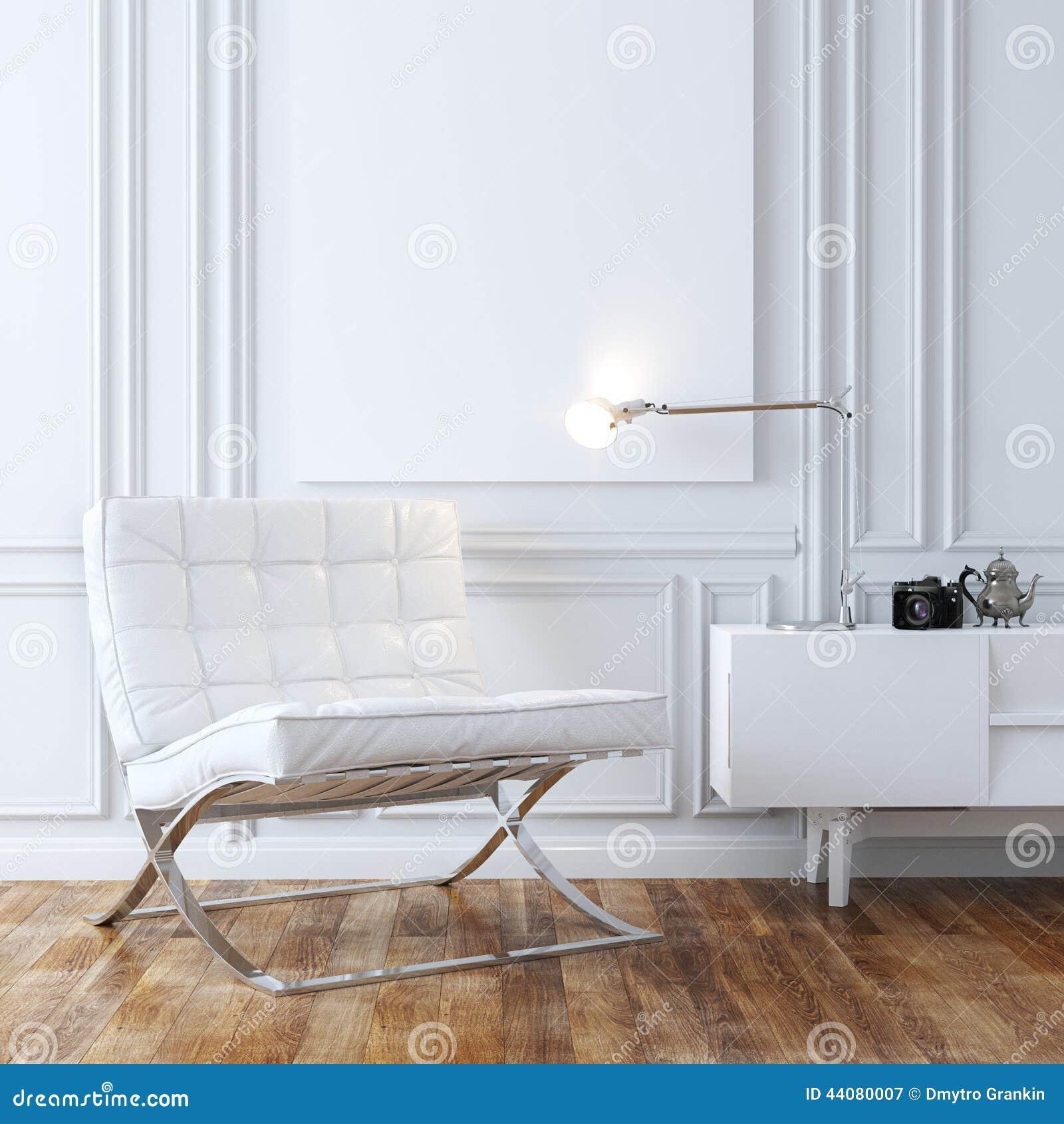 Modieuze Witte Leerleunstoel in Klassiek Binnenlands Ontwerp
