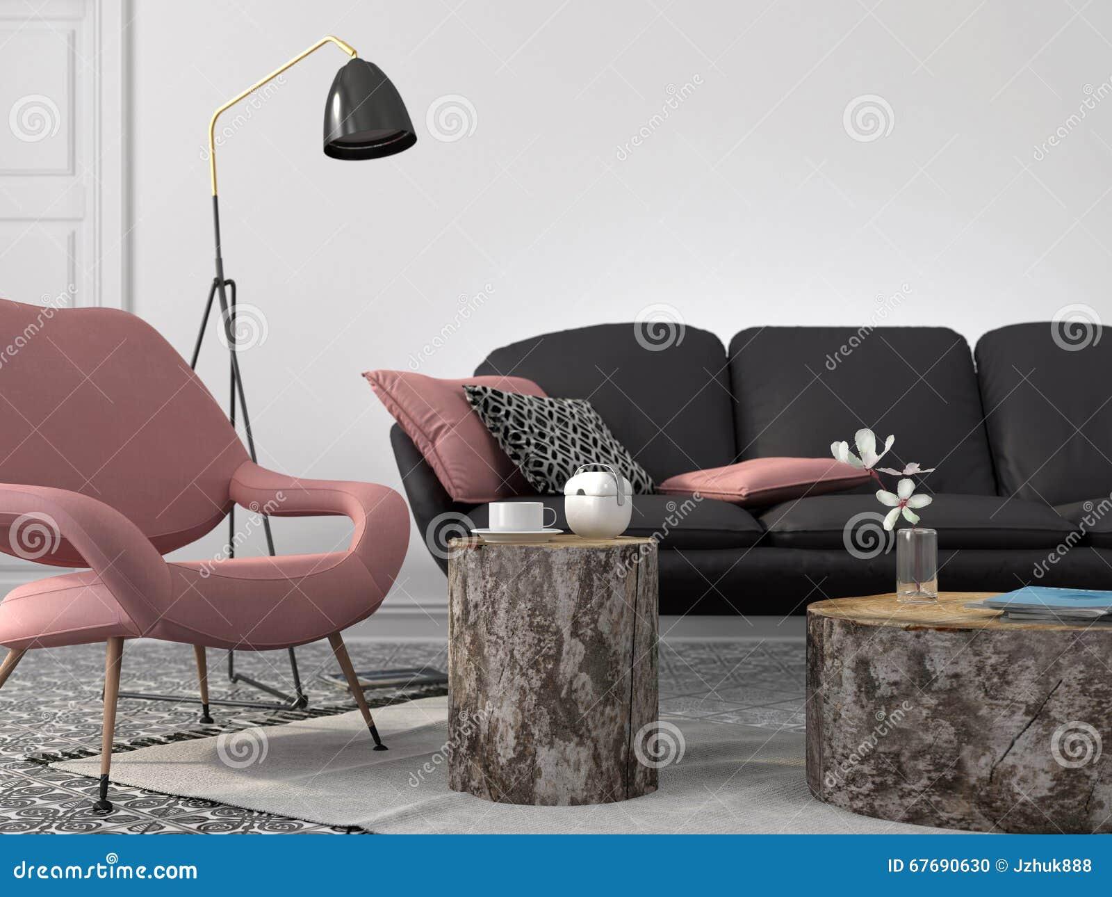 Modieuze Woonkamer In Roze En Grijze Kleur Stock Illustratie ...