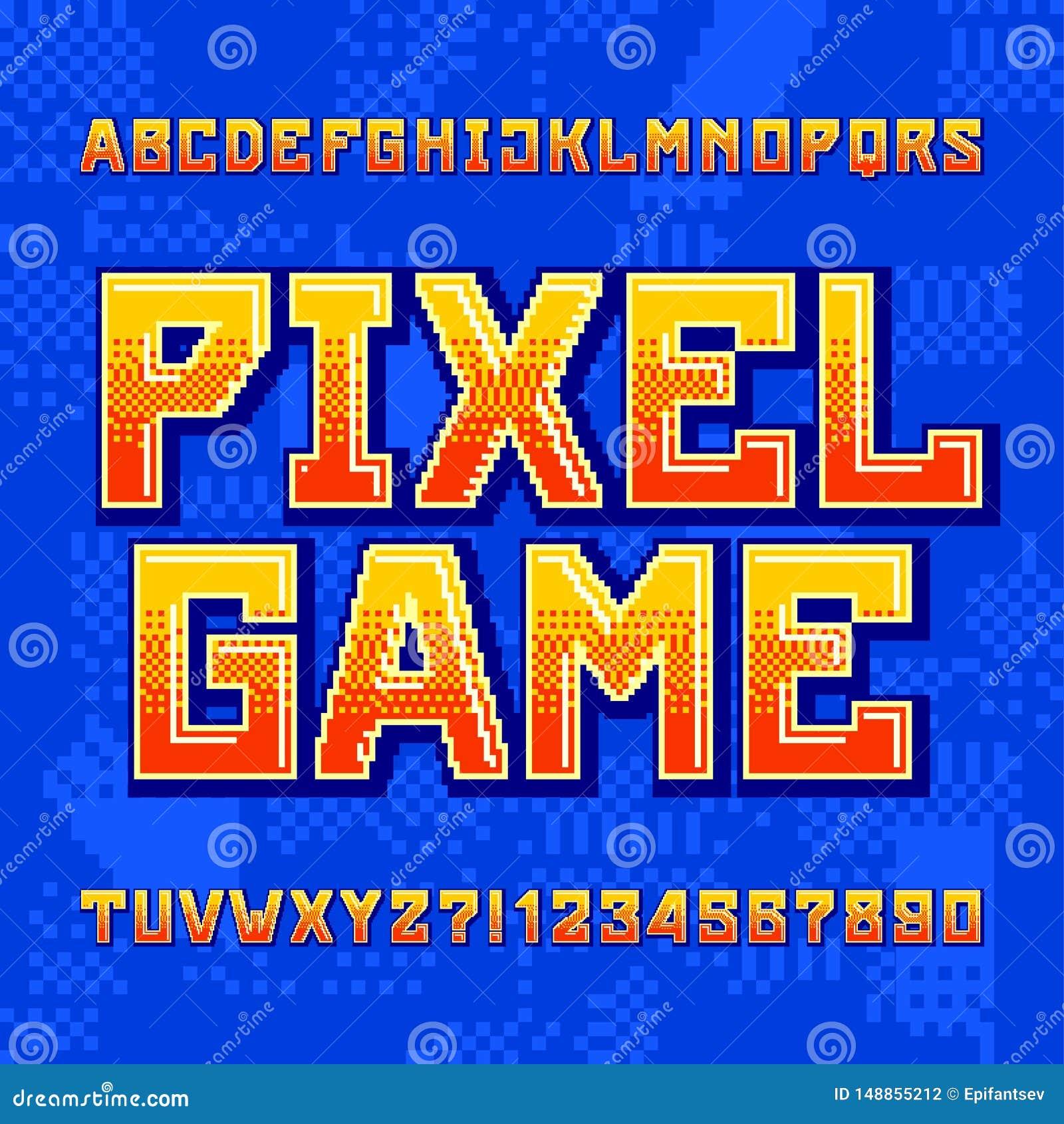 Modig alfabetstilsort f?r PIXEL Digital lutningbokstäver och nummer på pixelated bakgrund