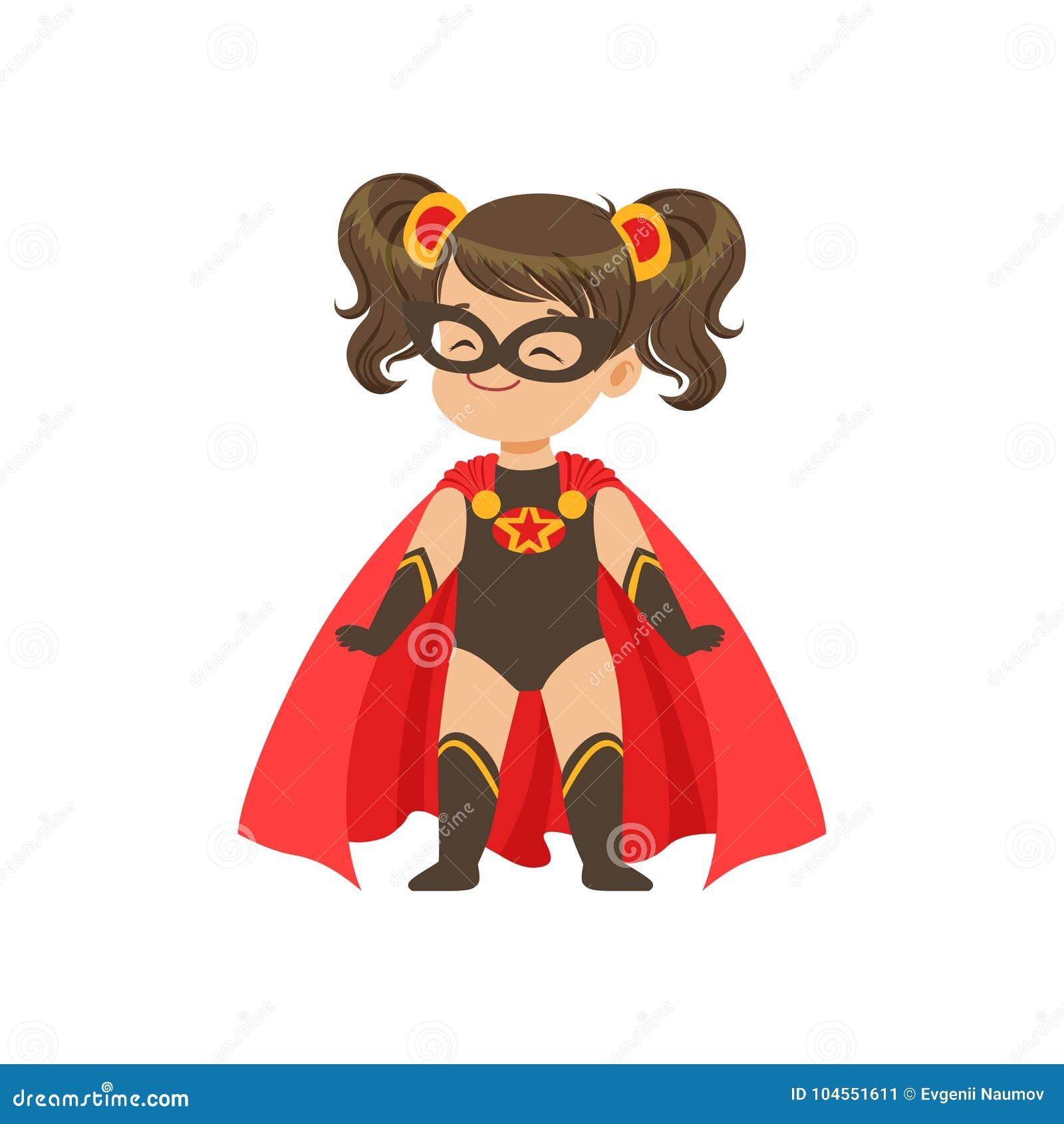 Modig flickaunge för komiker i superherosvartdräkt med stjärnan, maskeringen och framkallning i den röda kappan för vind som står
