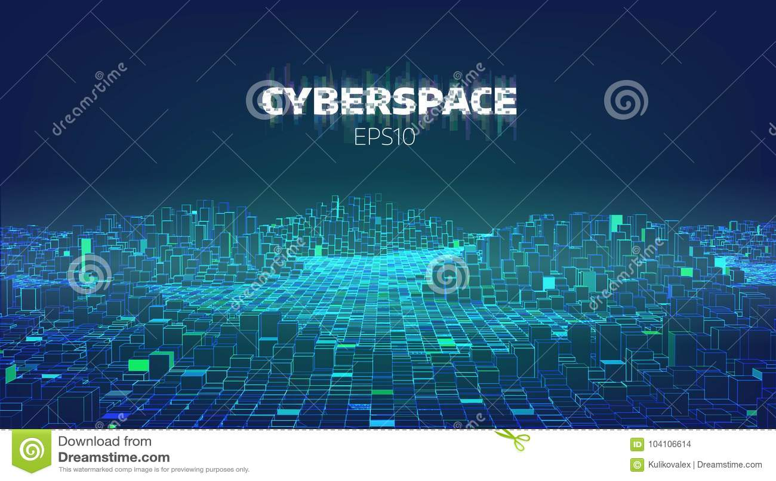 Modig stad för cyberspace E Futuristic teknologibakgrund