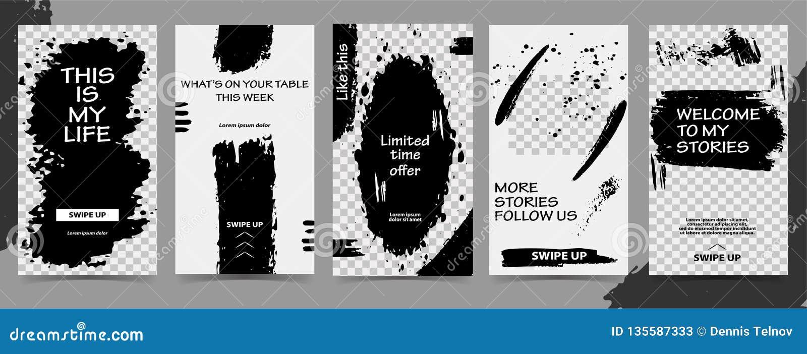 Modische editable Schablonen für instagram Geschichten, schwarzer Freitag-Verkauf, Geschenk, Vektorillustration Designhintergründ