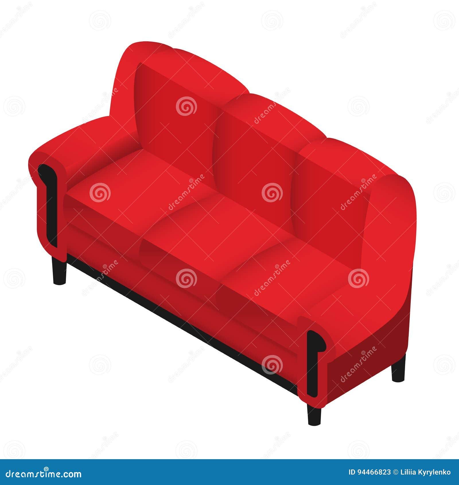 Modisches Isometrisches Rotes Sofa Des Vektors Möbel 3d Für Haus
