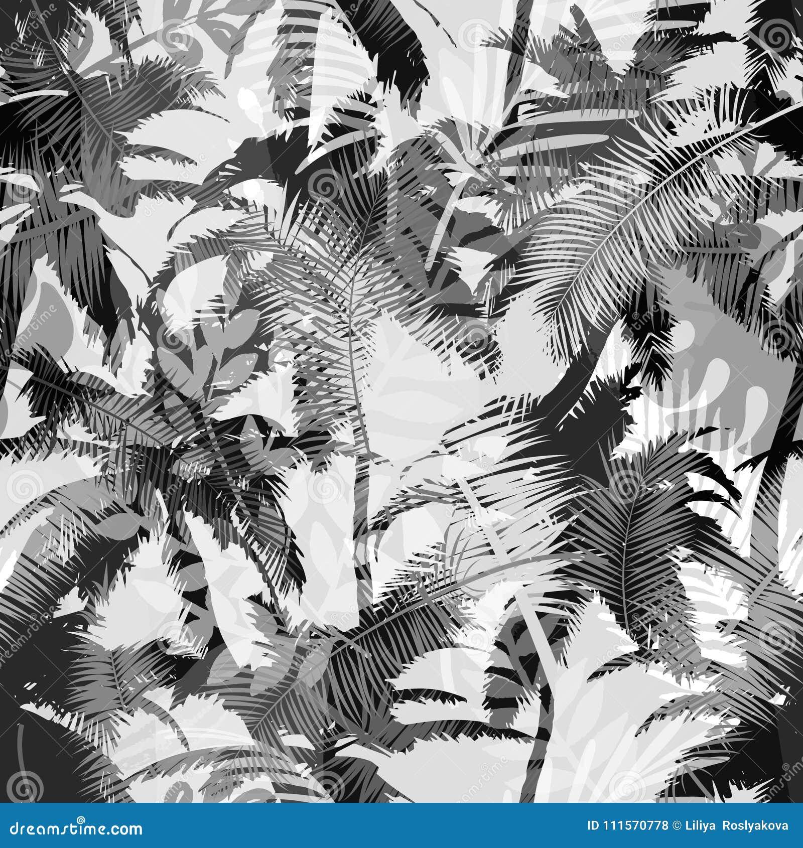 Modisches nahtloses exotisches Muster mit Palme und tropischen Anlagen Modernes abstraktes Design für Papier, Tapete, Abdeckung,