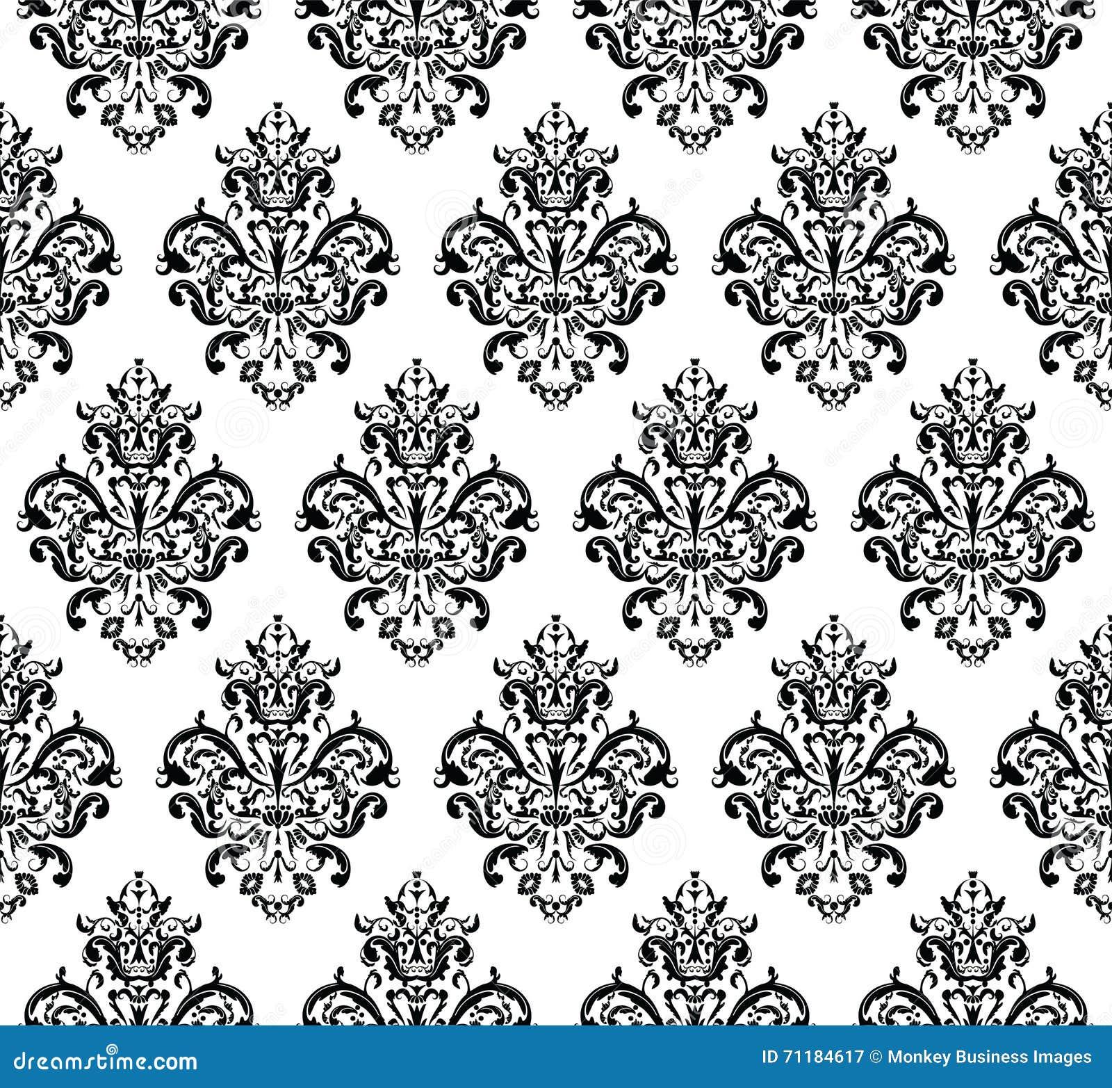 Mod le de r p tition sans couture noir et blanc de vecteur for Chambre baroque noir et blanc