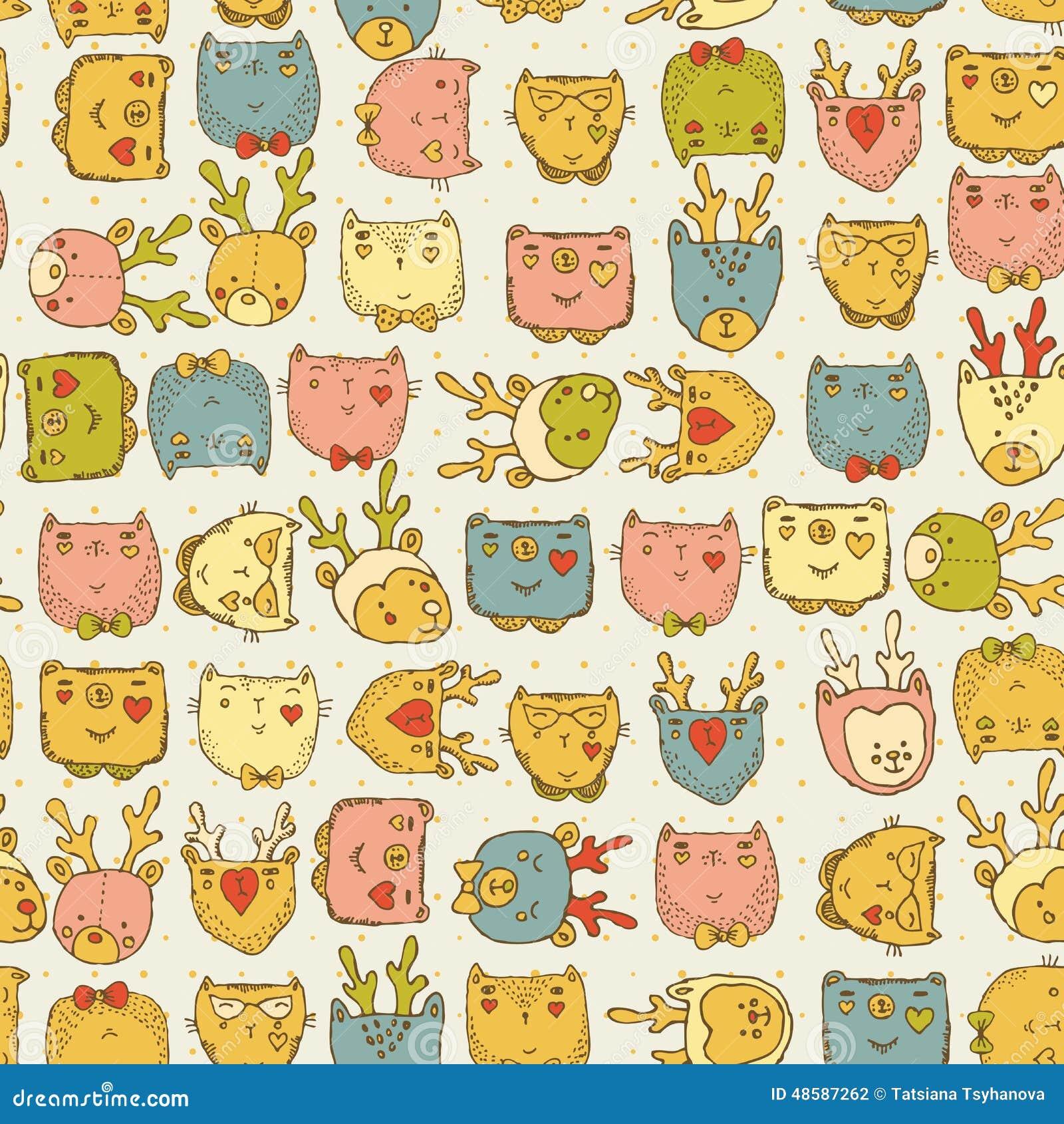 mod u00e8le sans couture avec les animaux mignons pour le tissu de b u00e9b u00e9  enfants textile  fond de