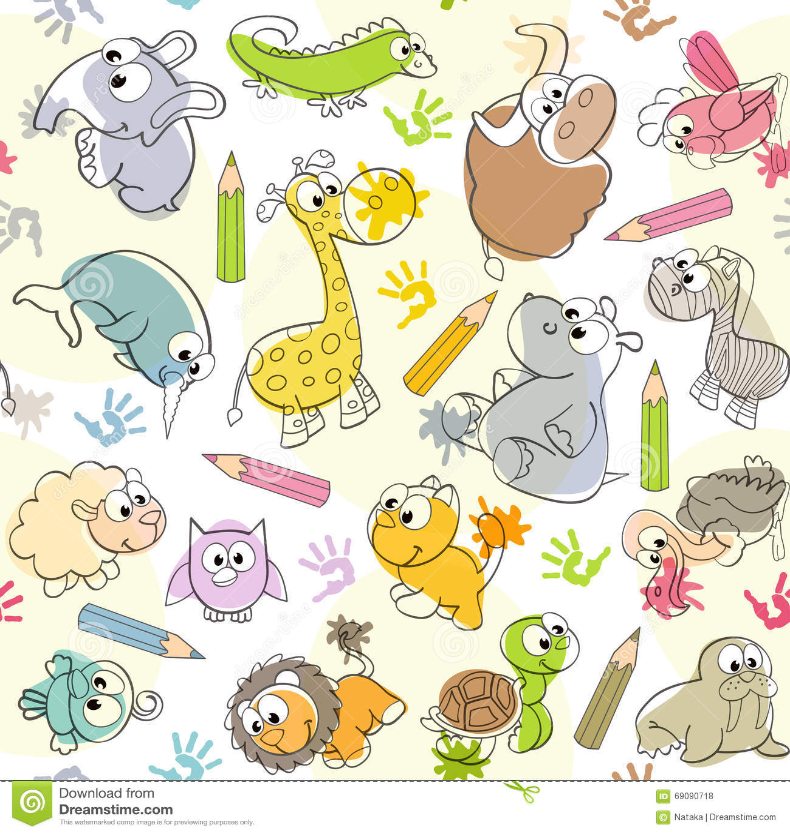 Mod le sans couture avec les dessins des enfants des animaux illustration de vecteur image - Modele coloriage enfant ...