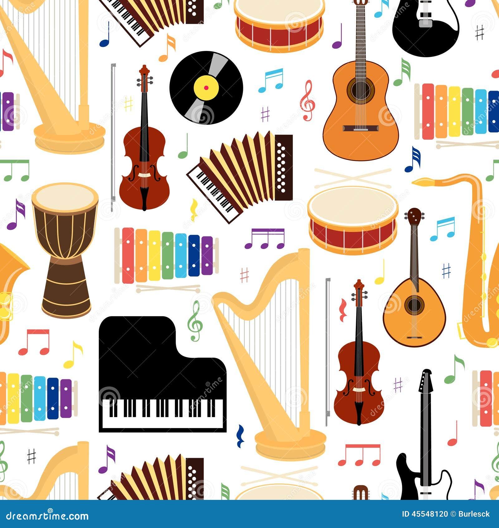 Mod le sans couture d 39 instruments de musique illustration de vecteur image 45548120 - Photo d instrument de musique ...