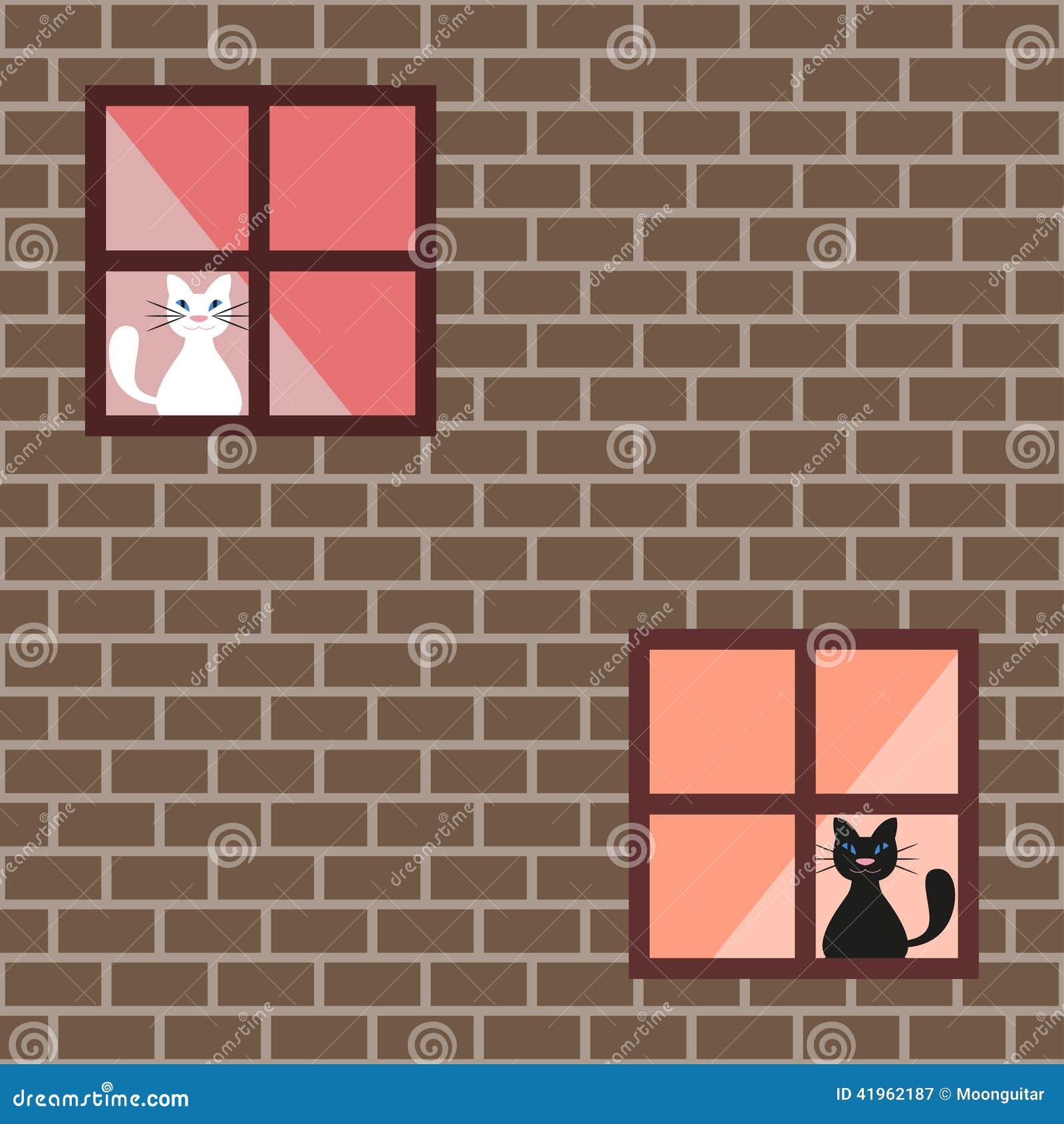 Mod le sans couture de chats dans des fen tres de maison chats derri re ride - Image rideaux maison ...