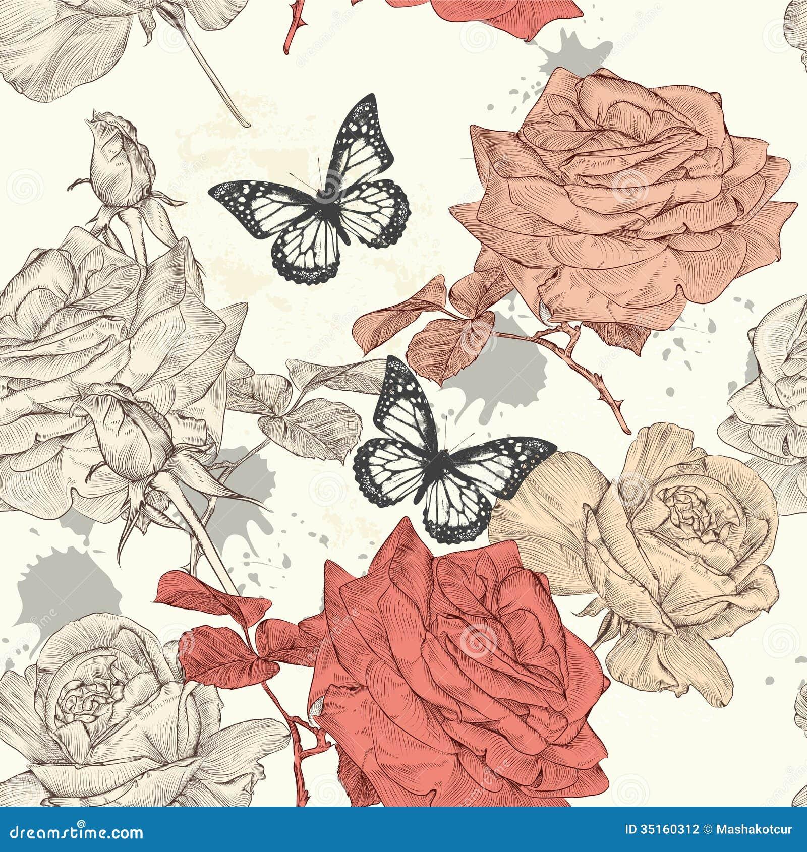 Mod le sans couture de papier peint avec des roses for Modele de papier peint
