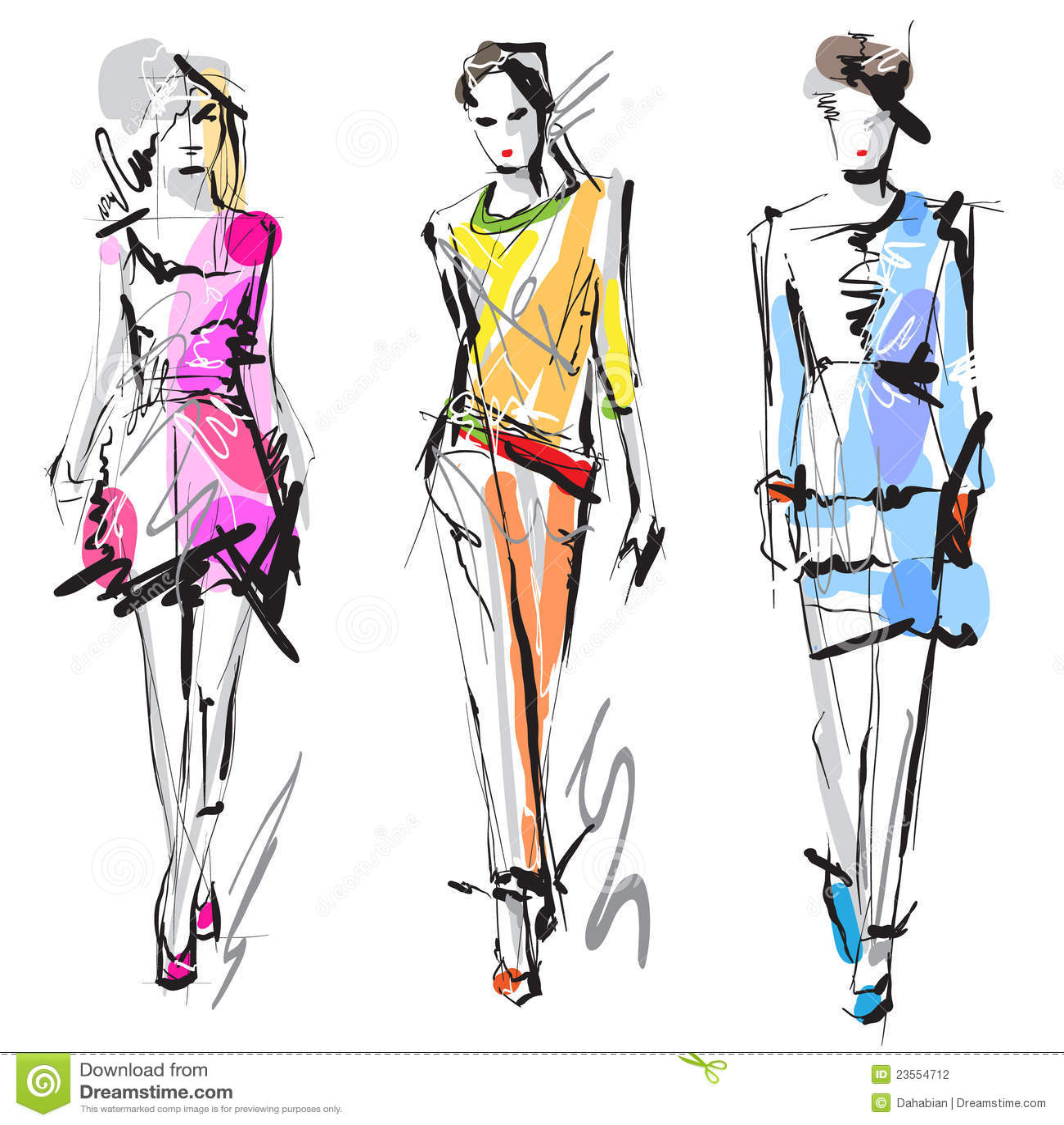 Modèles de mode. Croquis.