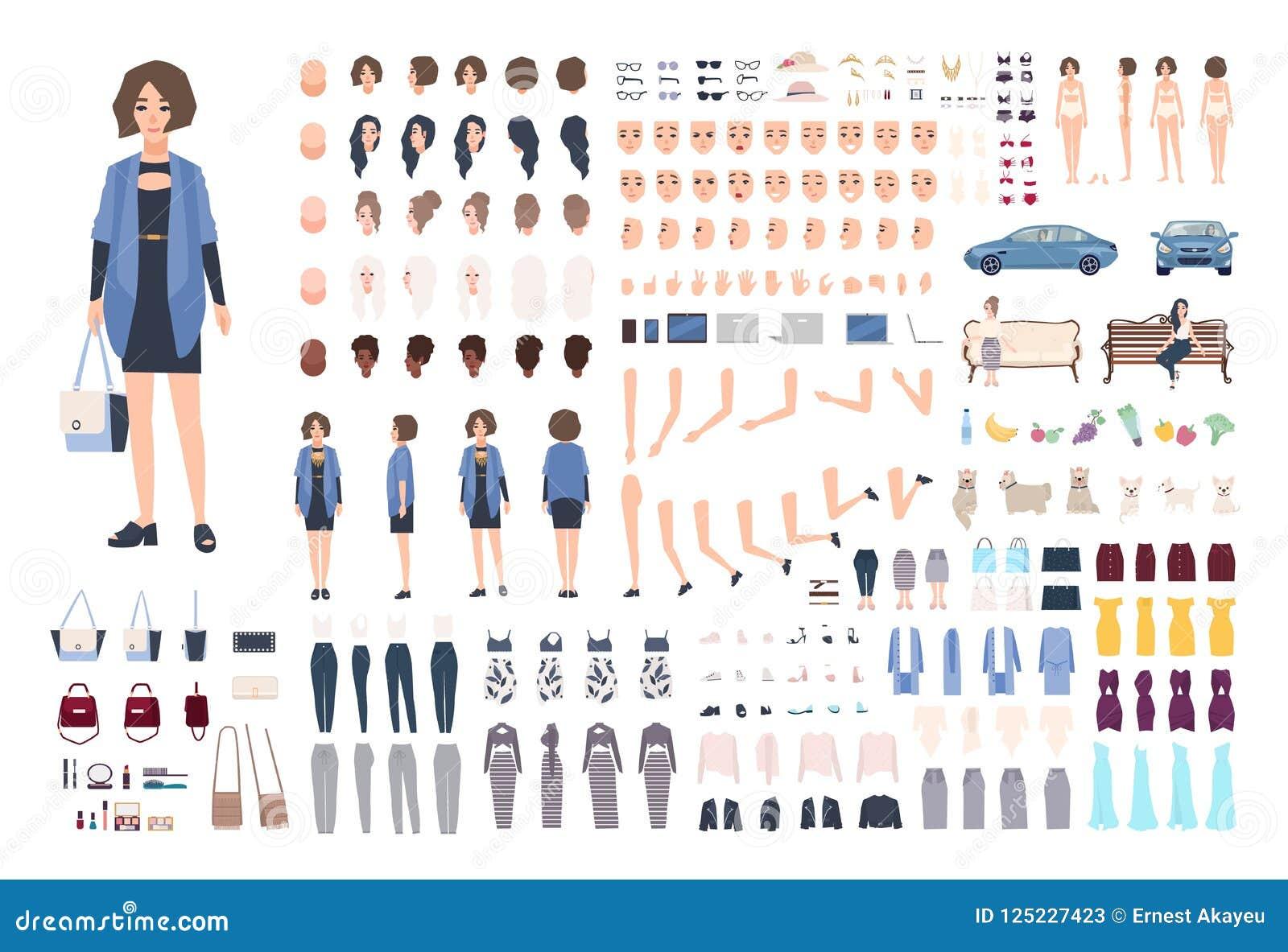 Modna młoda kobieta DIY lub animacja zestaw Kolekcja dziewczyny ` s części ciała, gesty, emocje, eleganckie odziewa