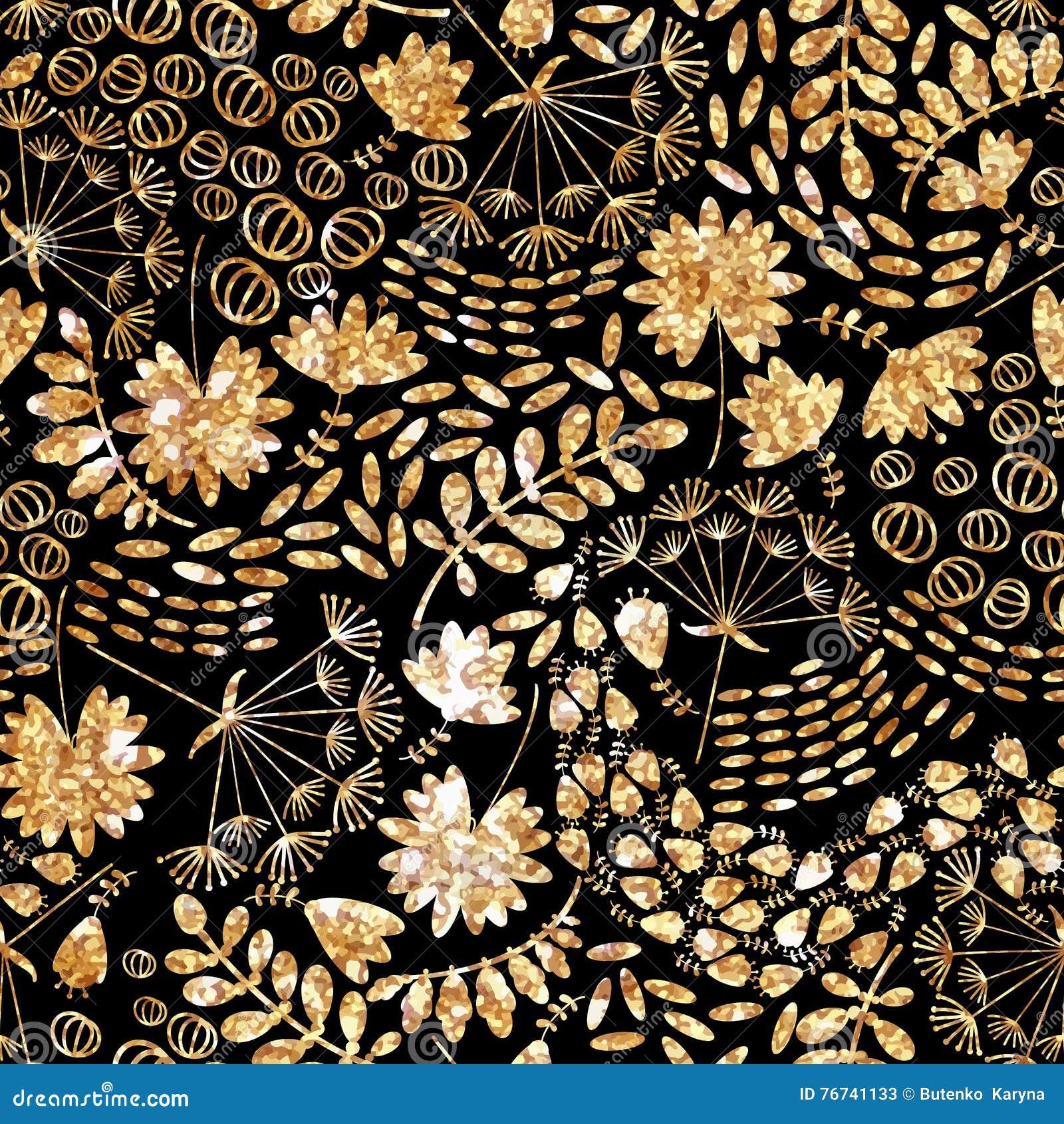 Modna złocista tekstura Wektorowy złocisty bezszwowy wzór, kwiecista tekstura z kwiatami i rośliny,